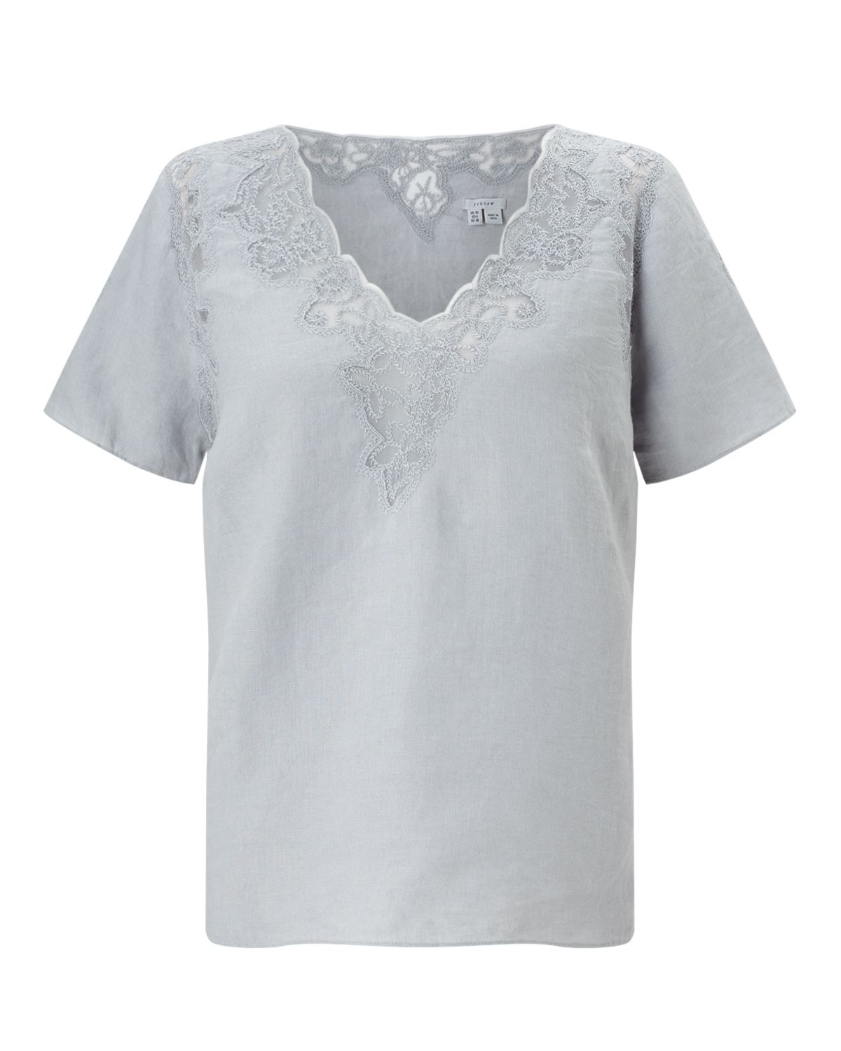 Jigsaw Floral Embroidered Linen Top, Blue