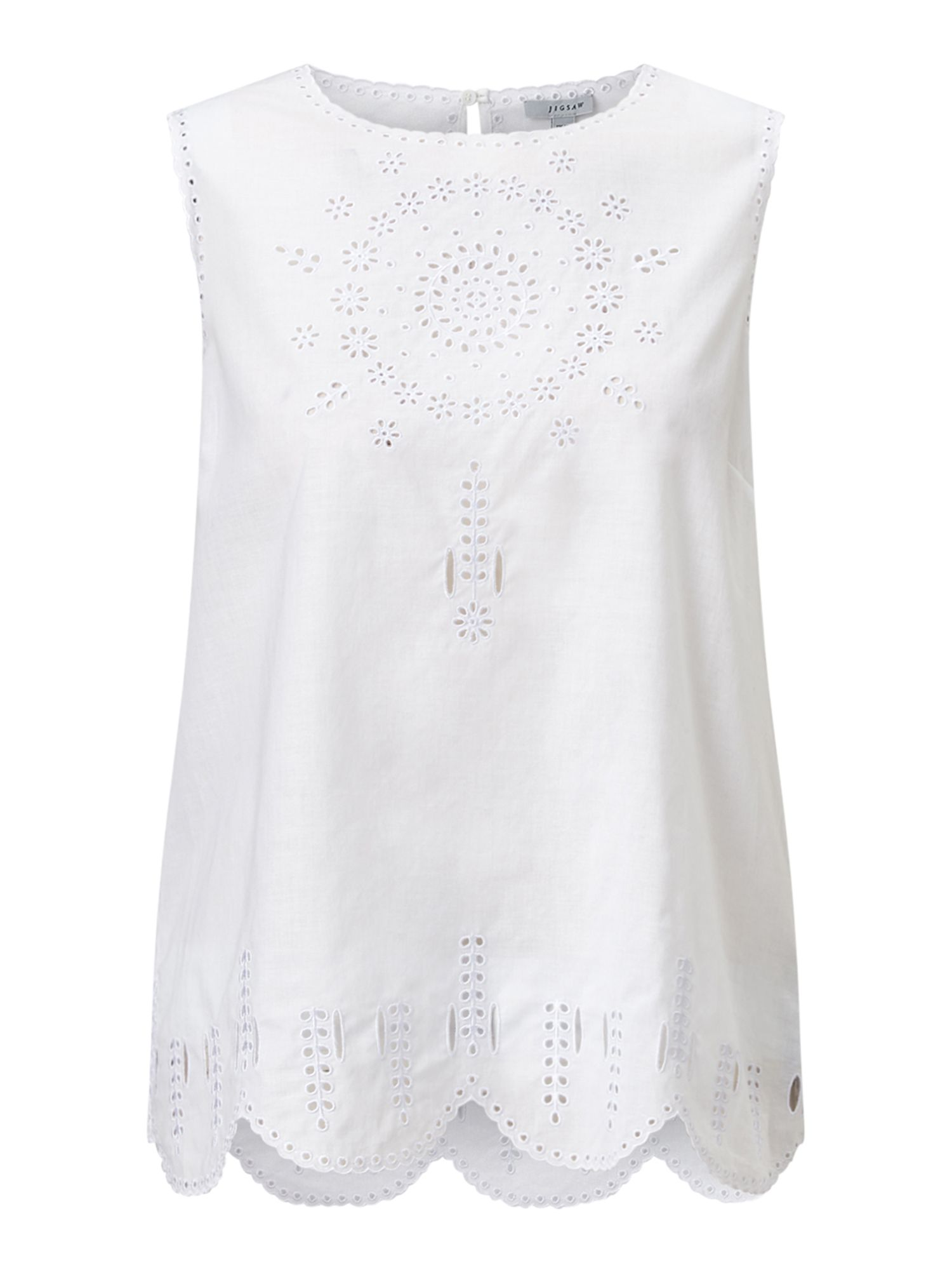 Jigsaw Cotton Broderie Tank, White
