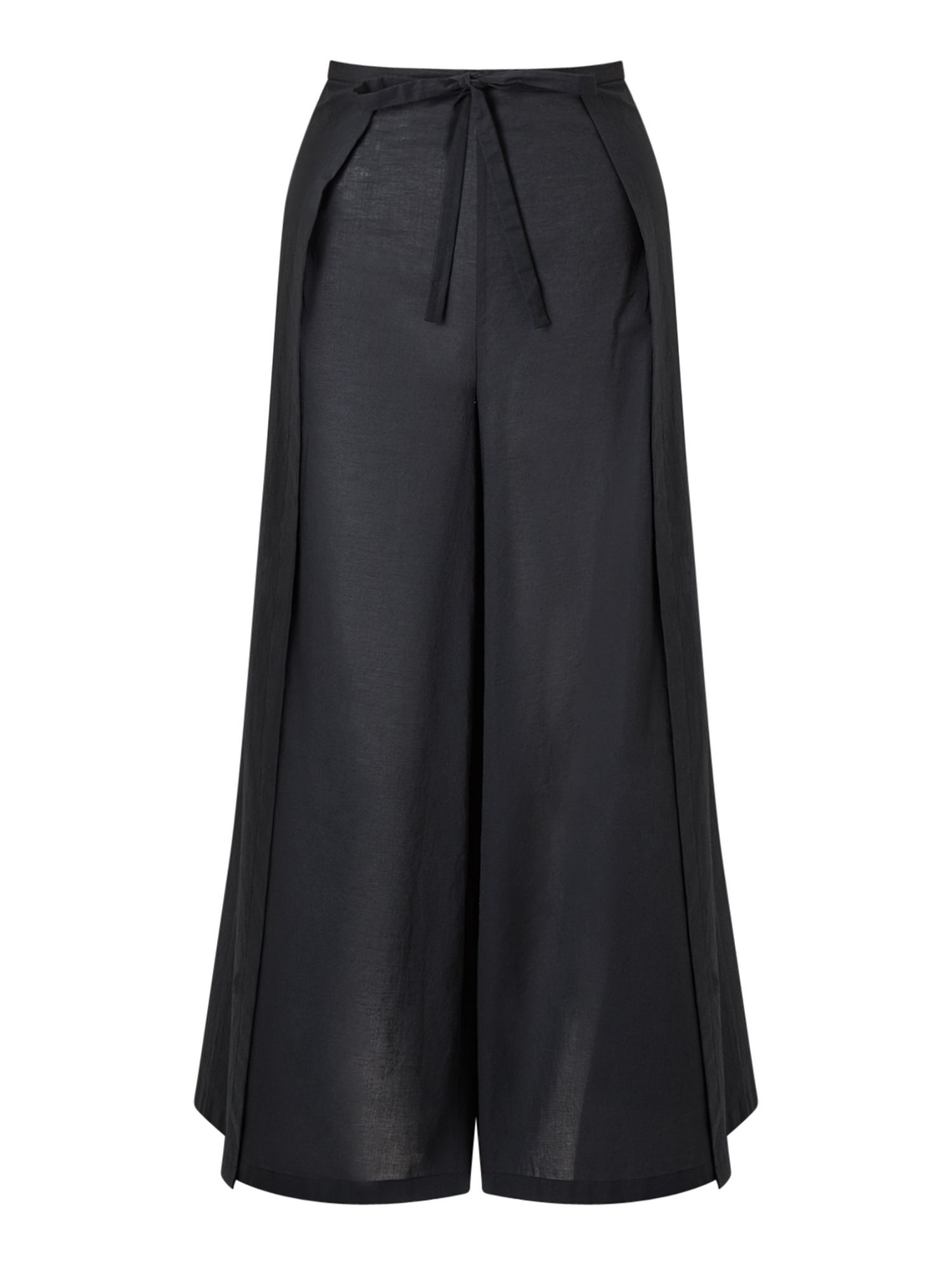 Jigsaw Cotton Voile Wrap Trousers, Black