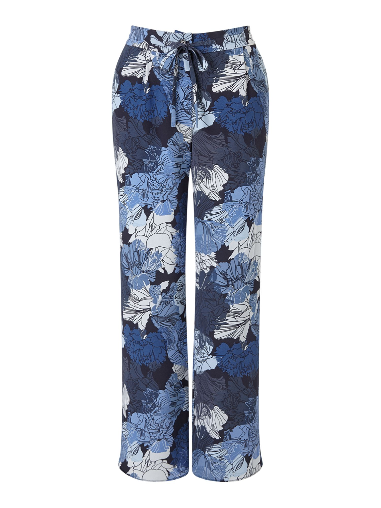 Jigsaw Camo Floral Trousers, Blue