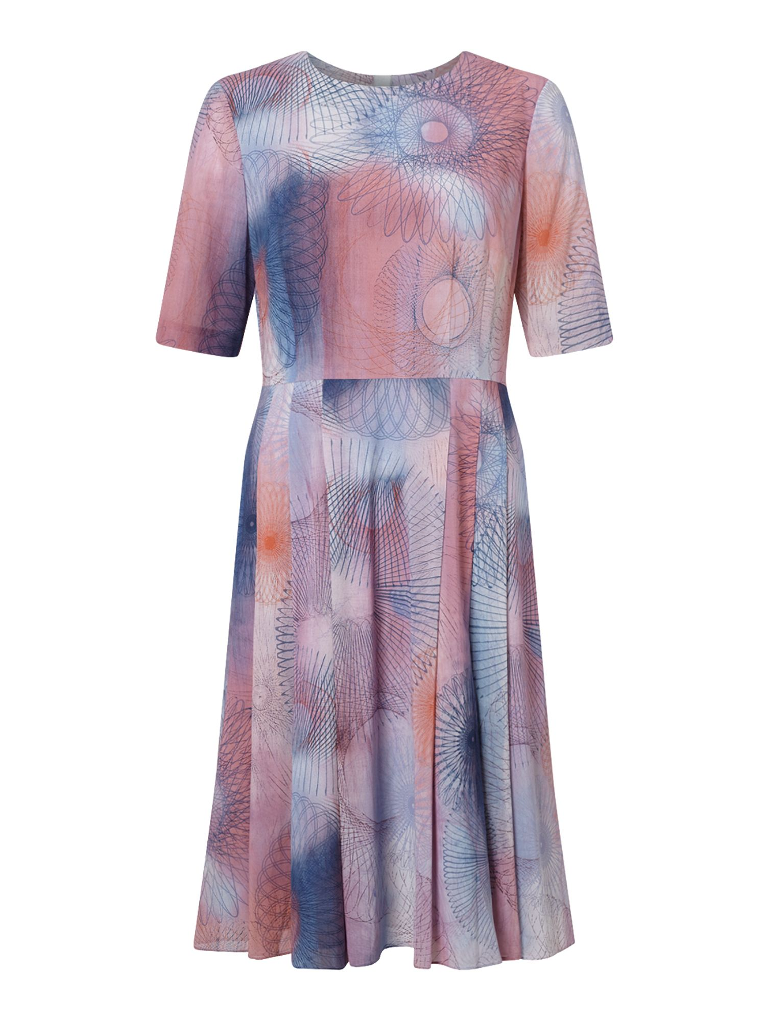 Jigsaw Spirograph Print Silk Dress, Pink