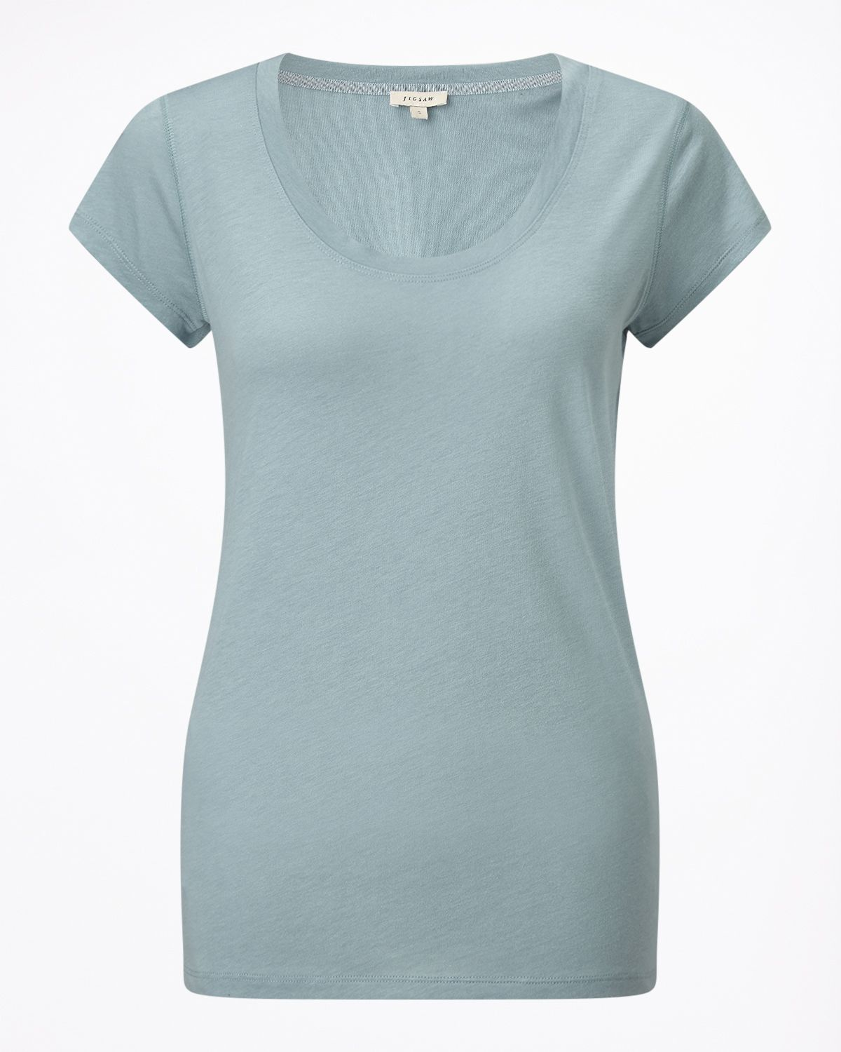Jigsaw Pima Cotton Sslv Tee, Aquamarine