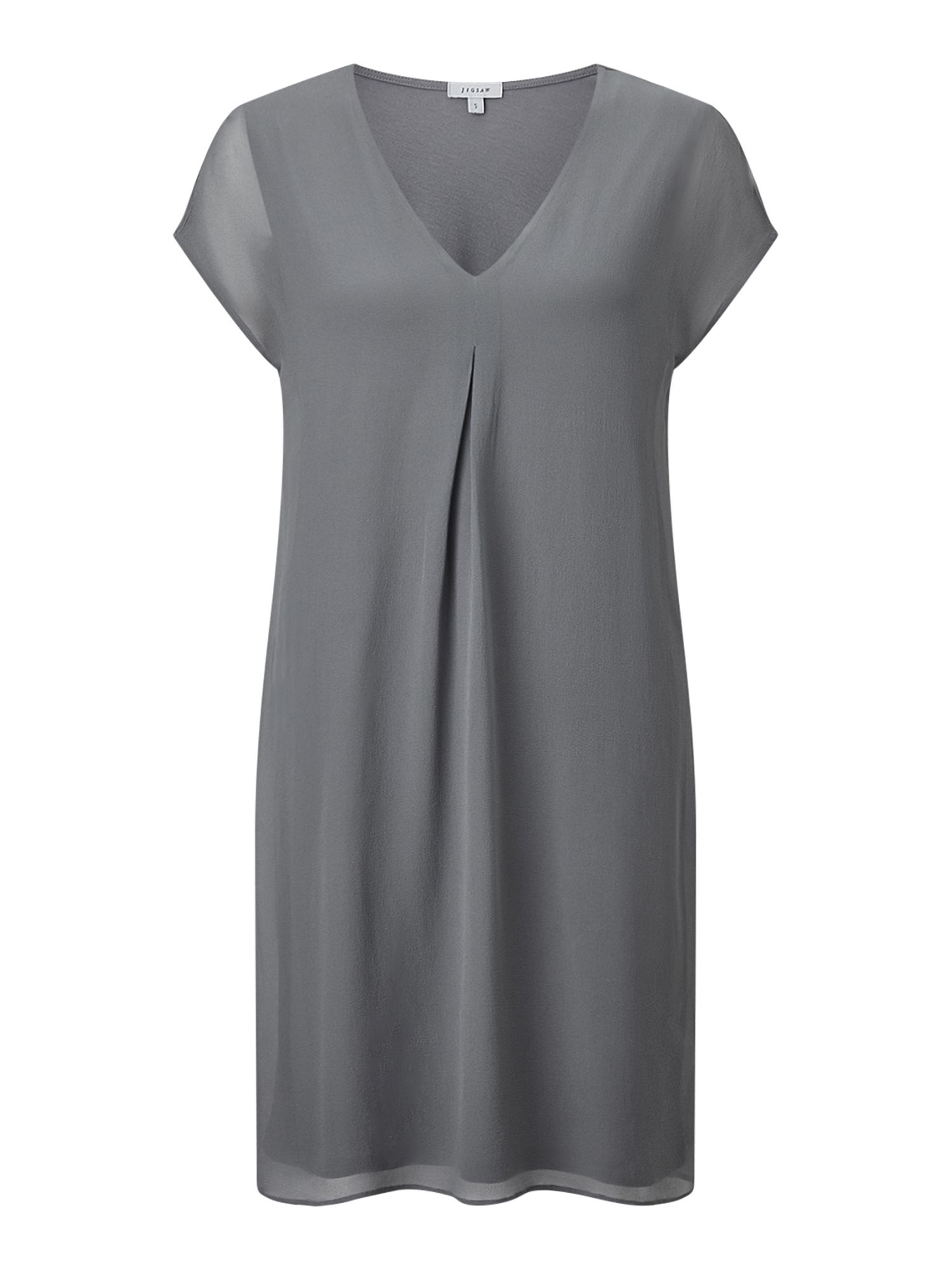 Jigsaw Pleat Front Silk Flare Dress, Grey