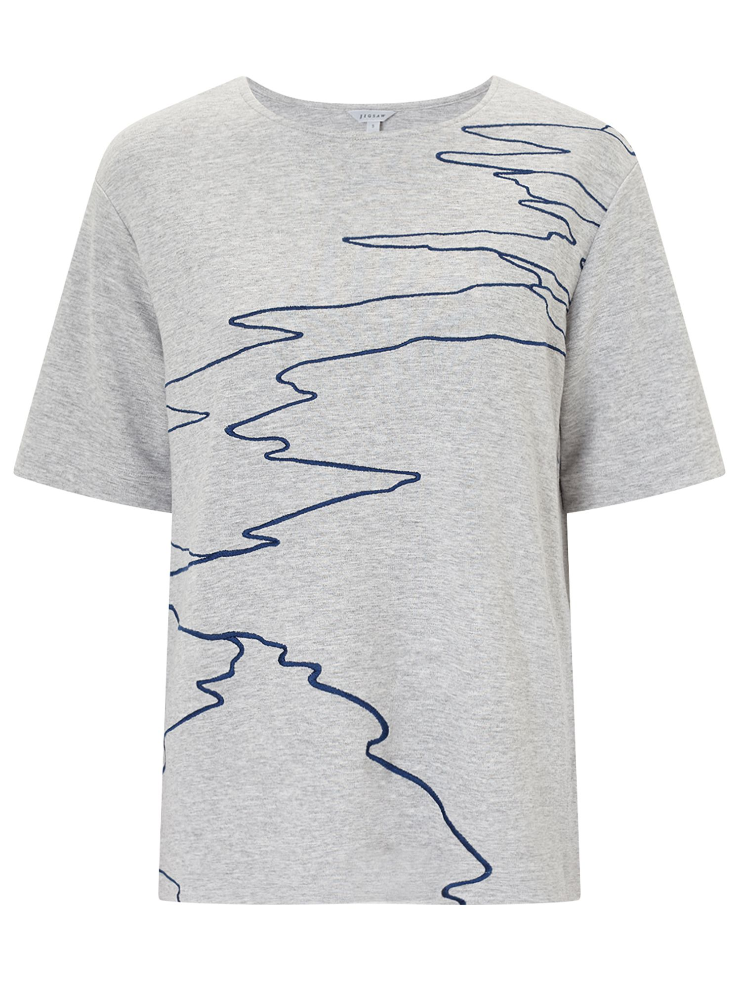 Jigsaw Ocean Tide Embroidered Top, Grey