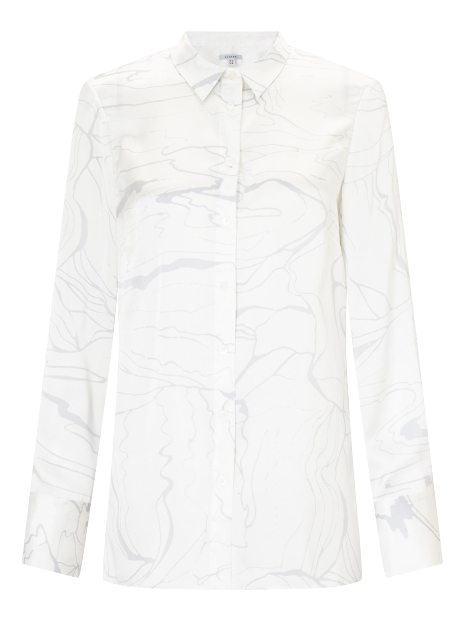 Jigsaw Waterpool Silk Blouse, Cream