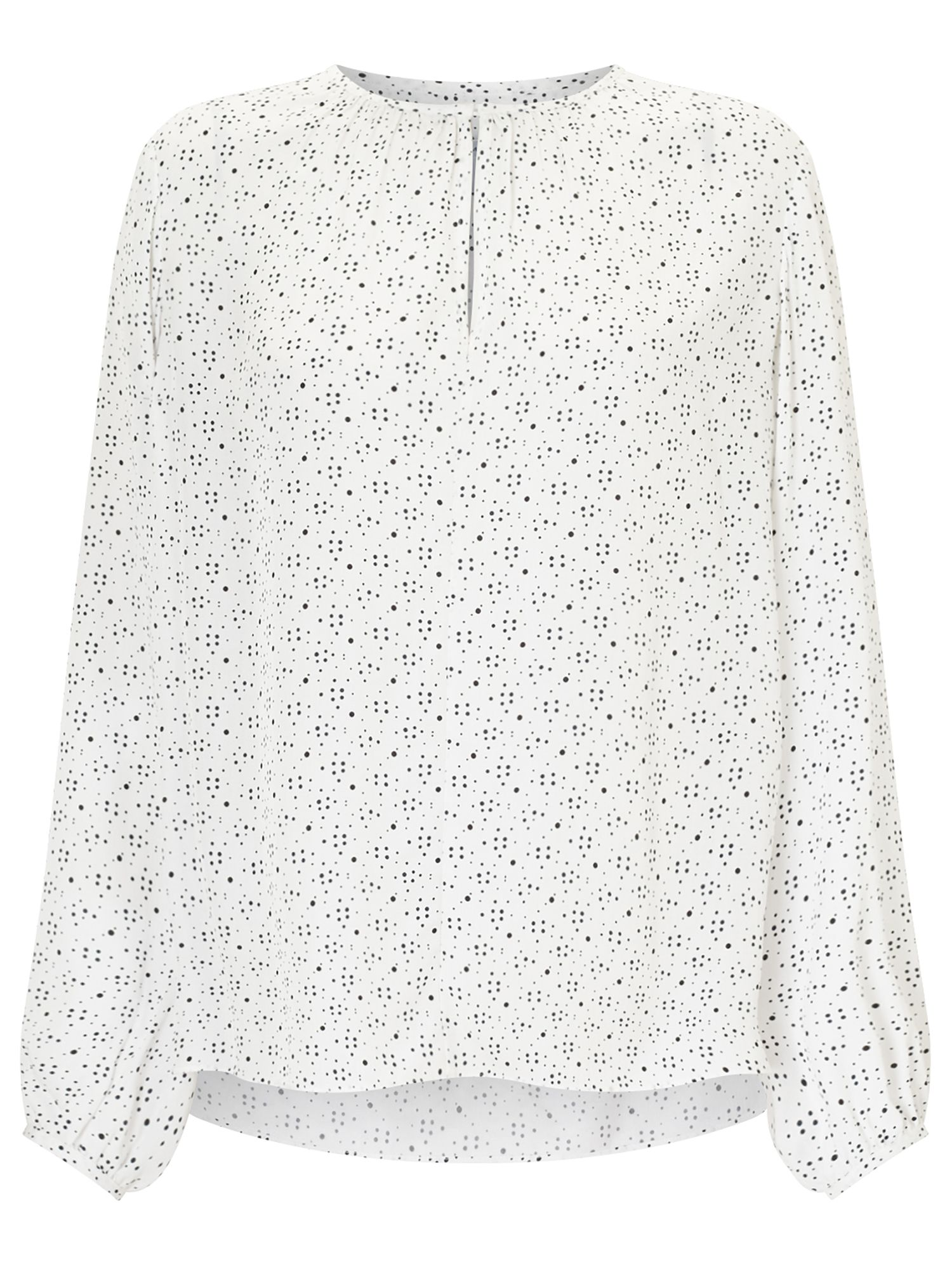 Jigsaw Multi Spot Open Neck Blouse, Cream