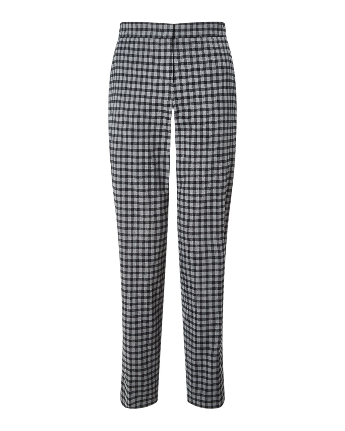 Jigsaw Gingham Stretch Cigarette Trs, Grey
