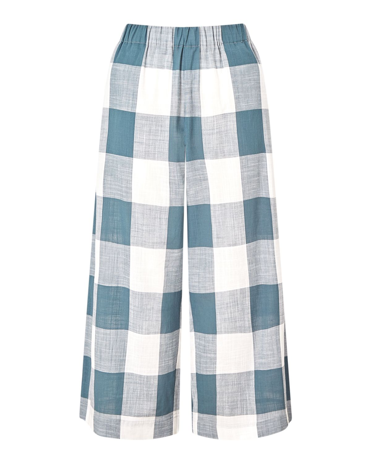 Jigsaw Gingham Wide Leg Trouser, Green