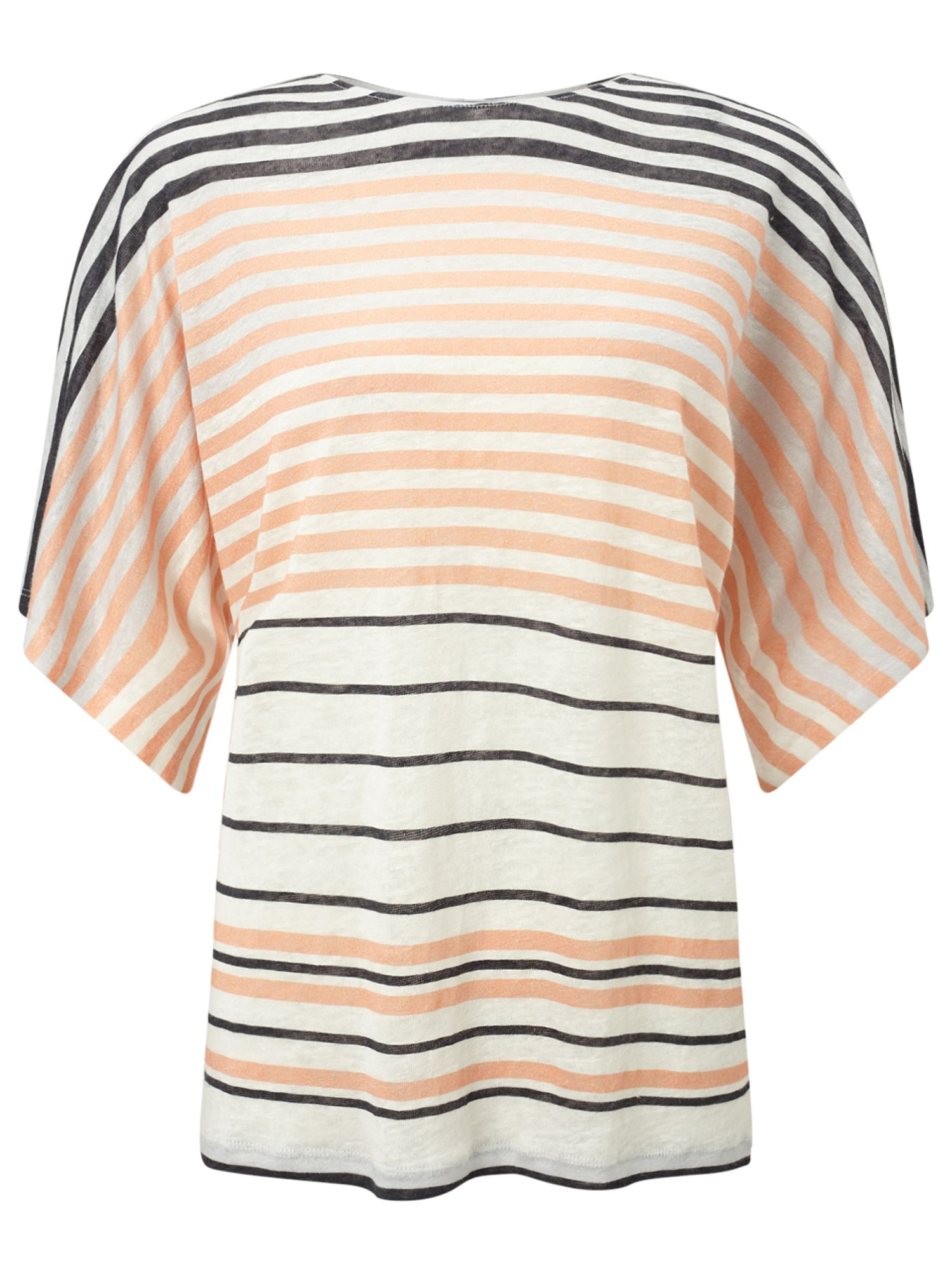 Jigsaw Linen Multi Stripe T-shirt, Orange