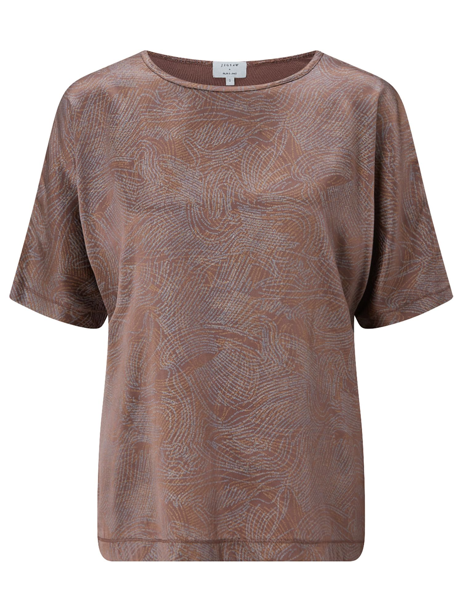 Jigsaw Poem Print Silk Batwing, Brown