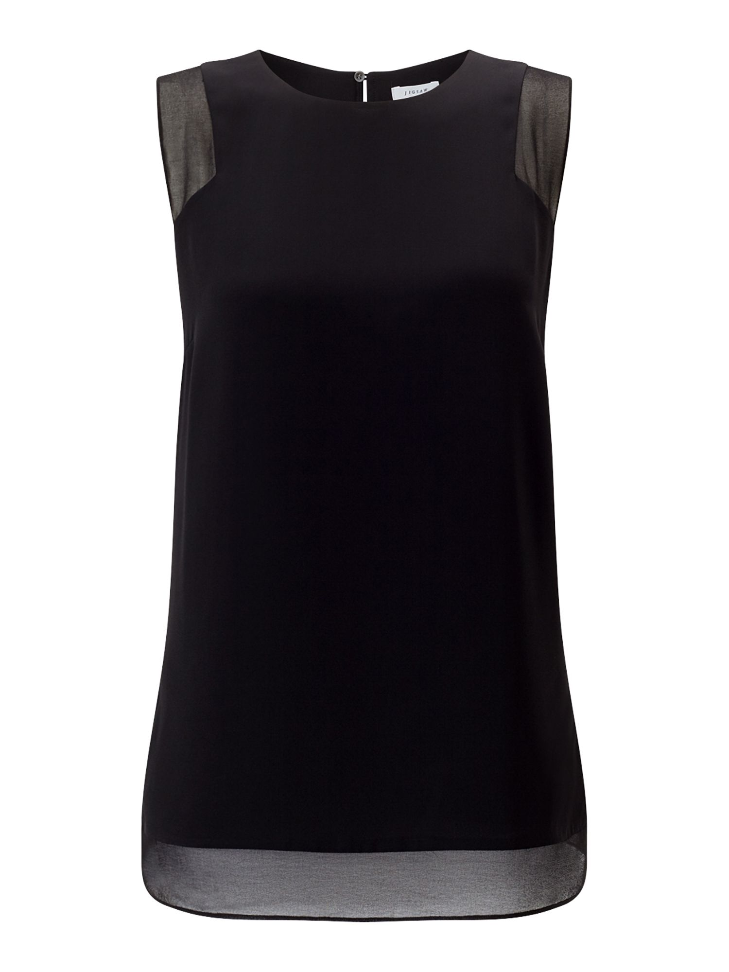 Jigsaw Sheer Detail Vest Top, Black