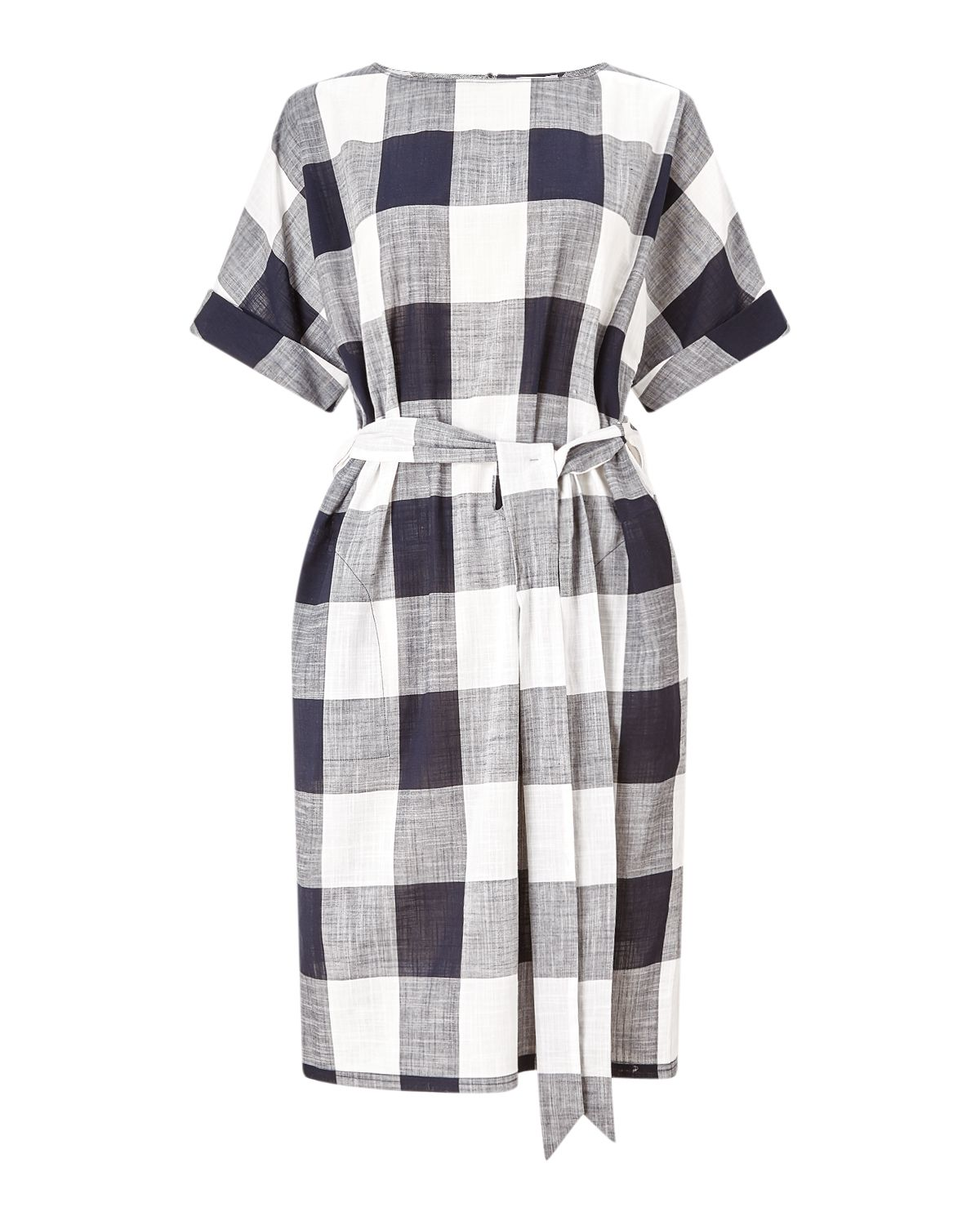 Jigsaw Feather Gingham Belted Dress, Blue