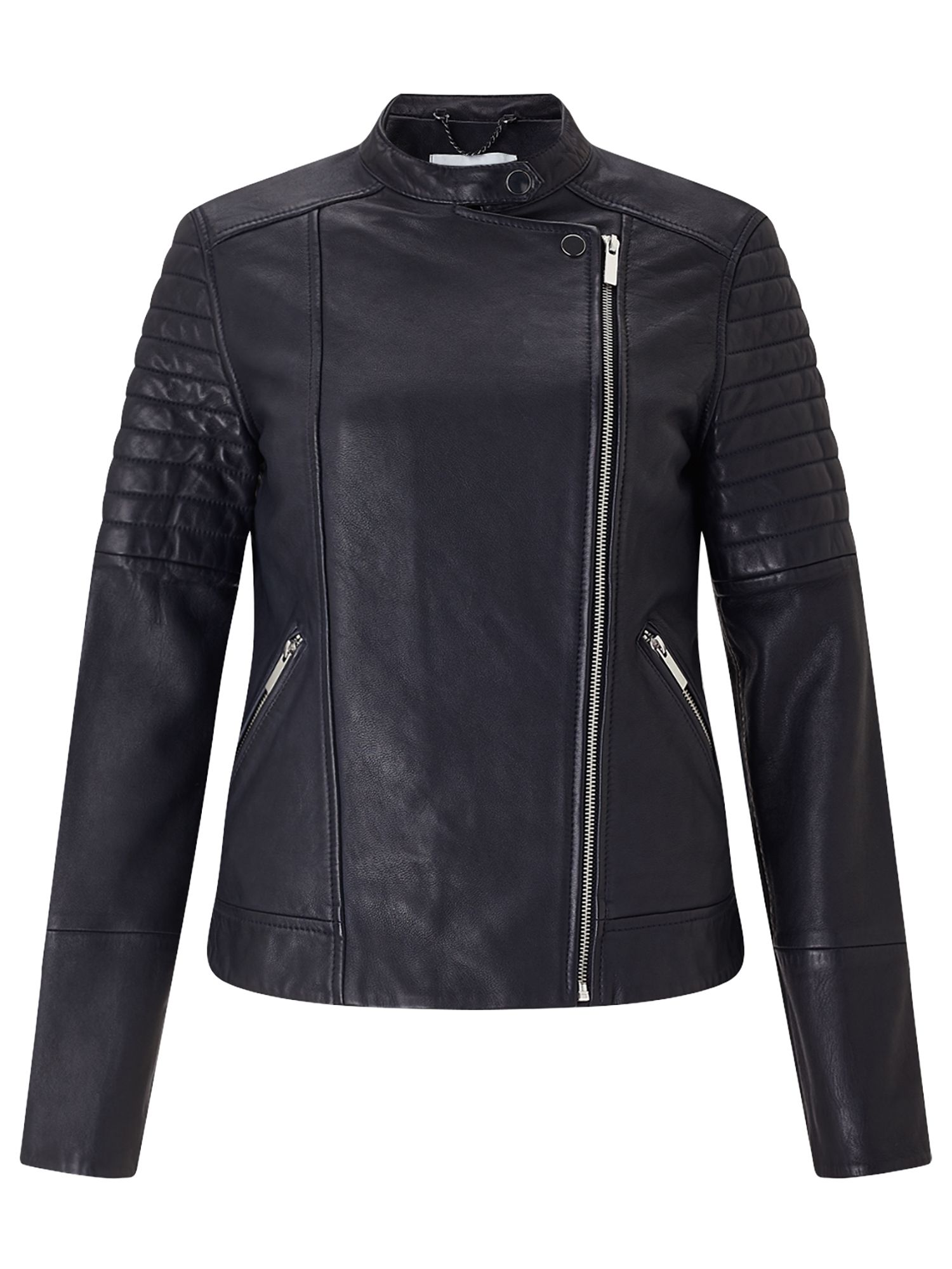 Jigsaw Clean Leather Biker Jacket, Blue