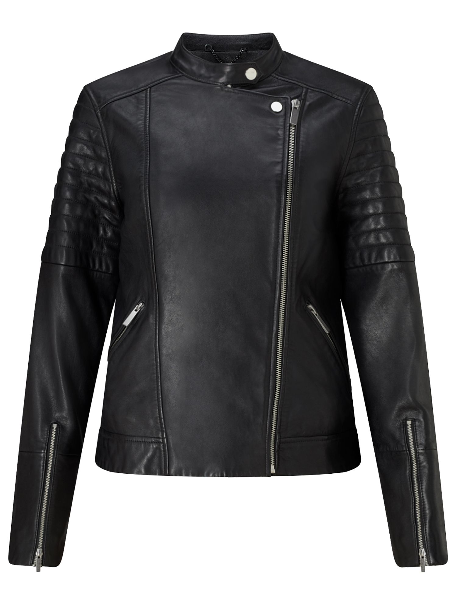 Jigsaw Clean Leather Biker Jacket, Black