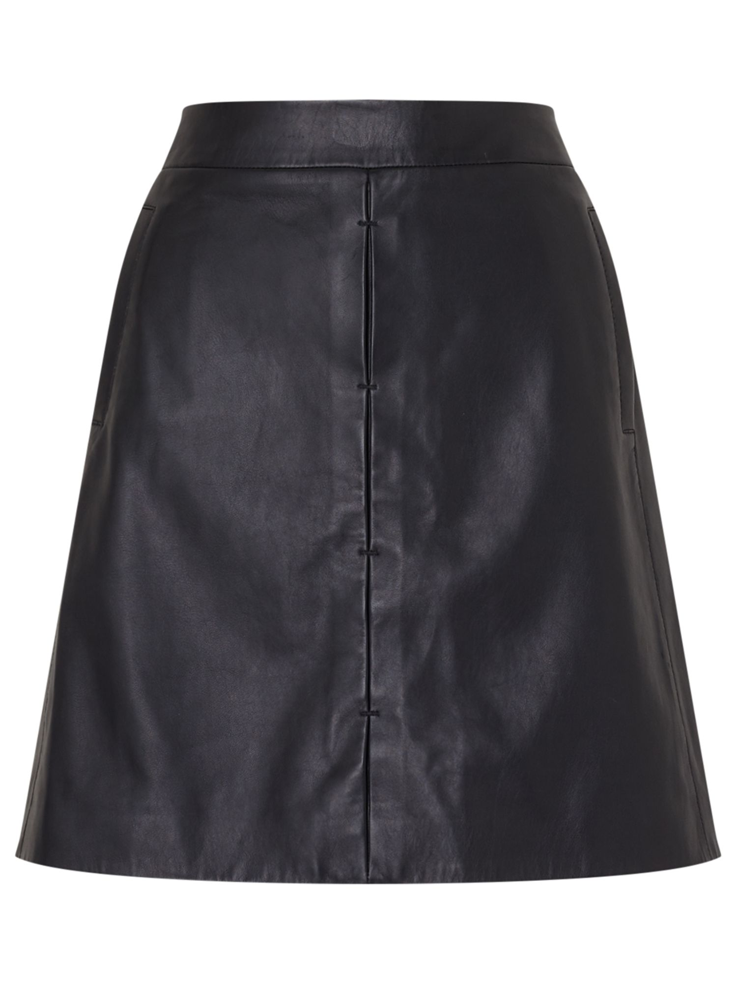 Jigsaw Mini Leather Skirt, Black