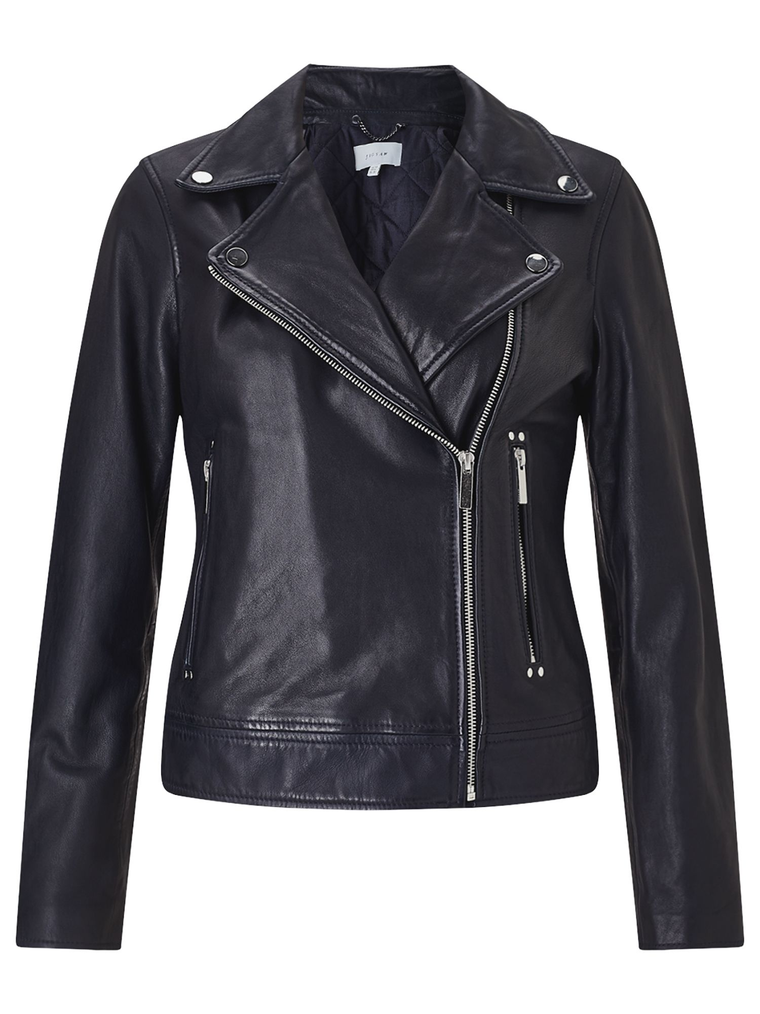 Jigsaw Washed Biker Jacket, Blue