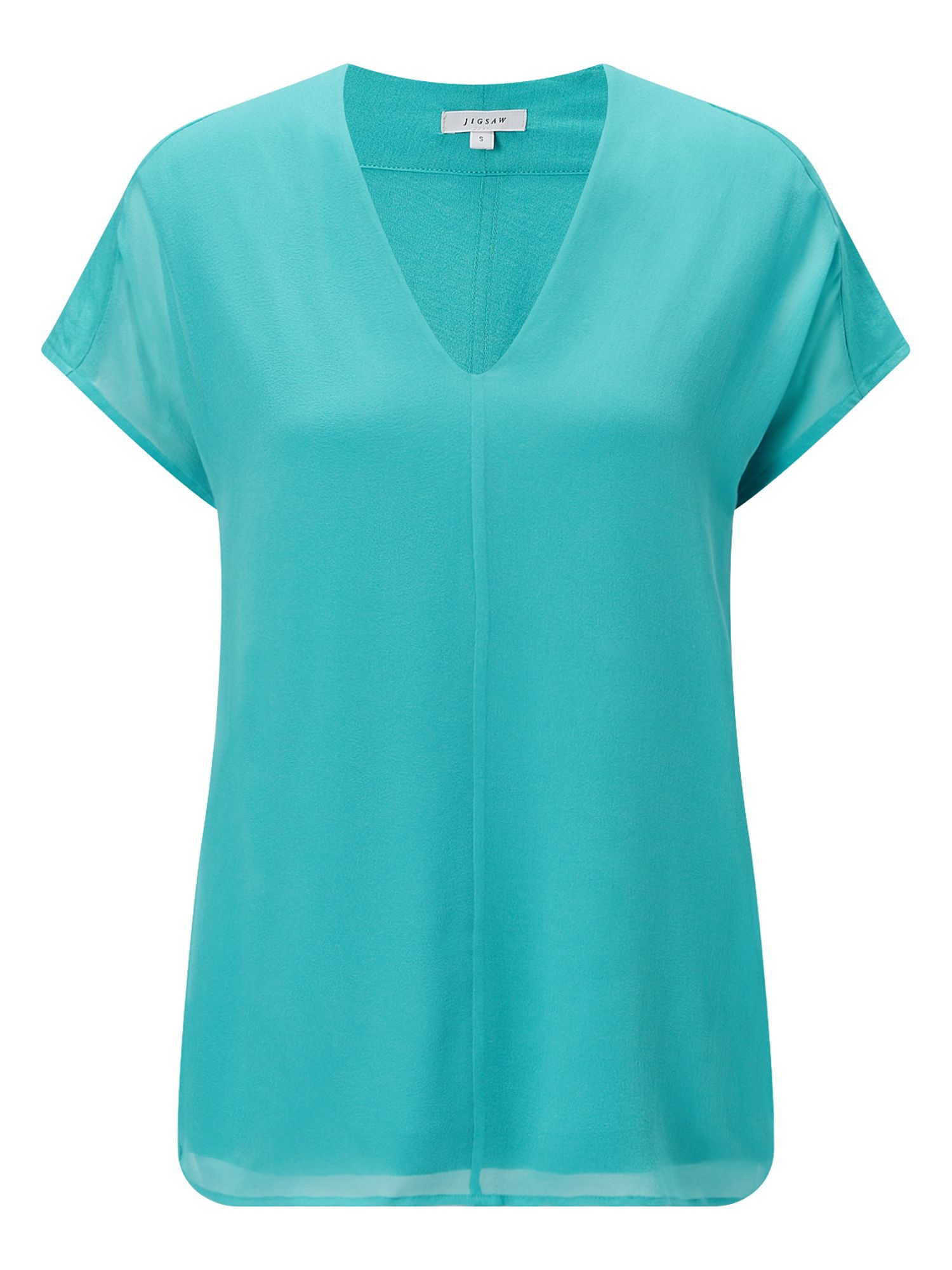 Jigsaw Overlay Silk Front V Neck Top, Turquoise
