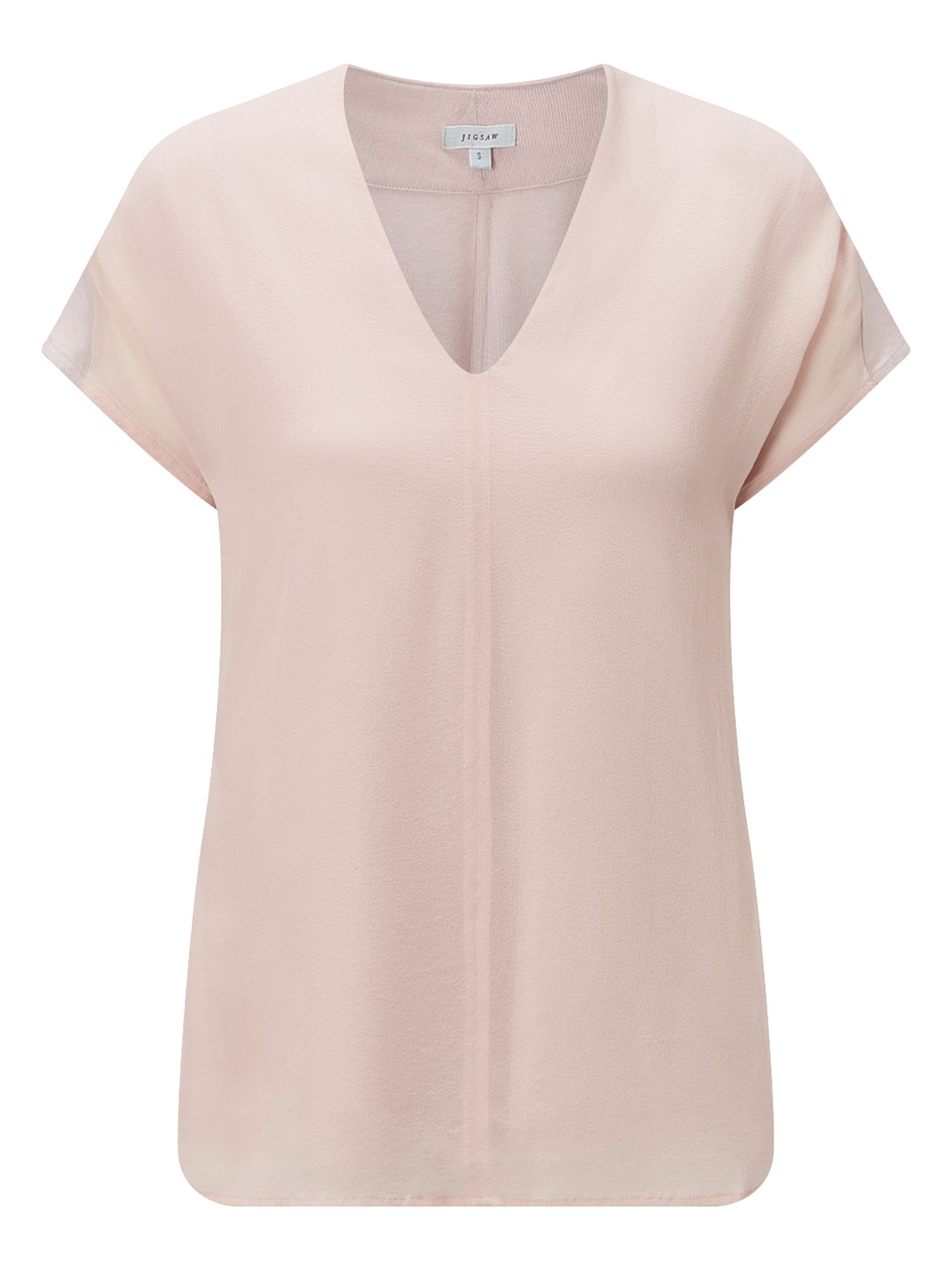 Jigsaw Overlay Silk Front V Neck Top, Pink