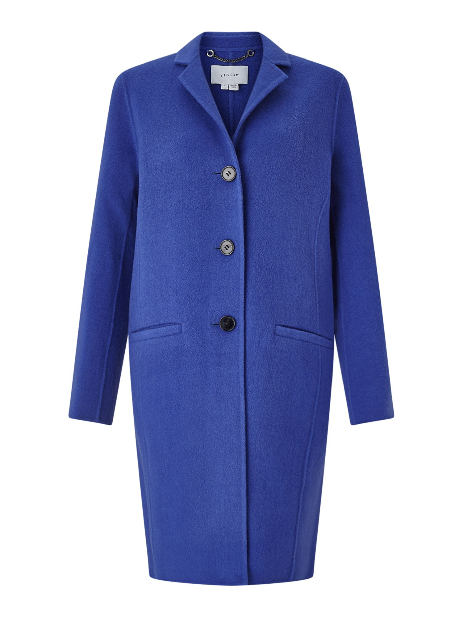 Jigsaw Double Face Oval Coat, Aquamarine
