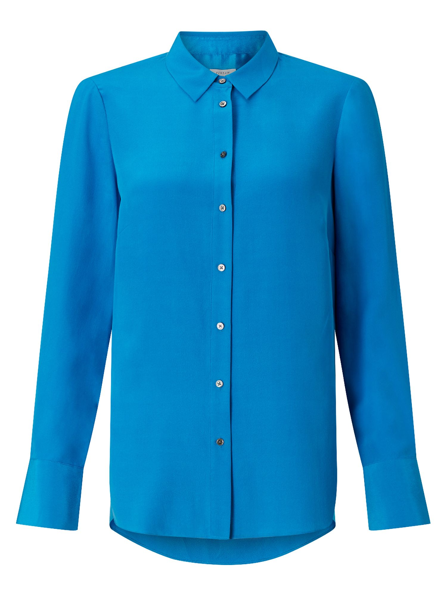 Jigsaw Silk Shirt, Cobalt