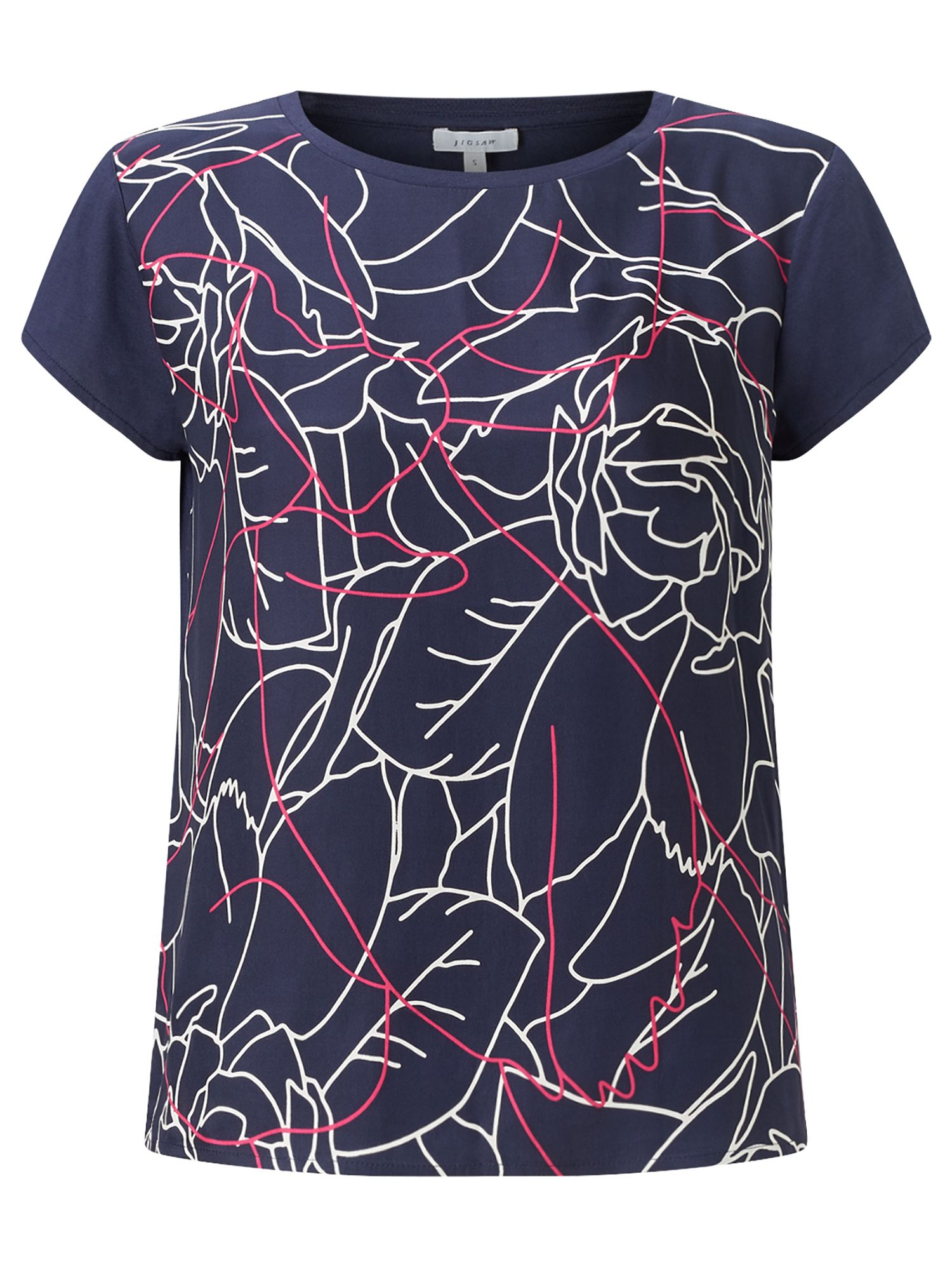 Jigsaw Floral Contours Silk Front Tee, Blue
