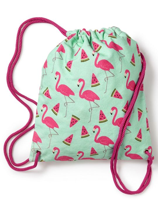Jigsaw Flamingo Melon Drawstring Bag