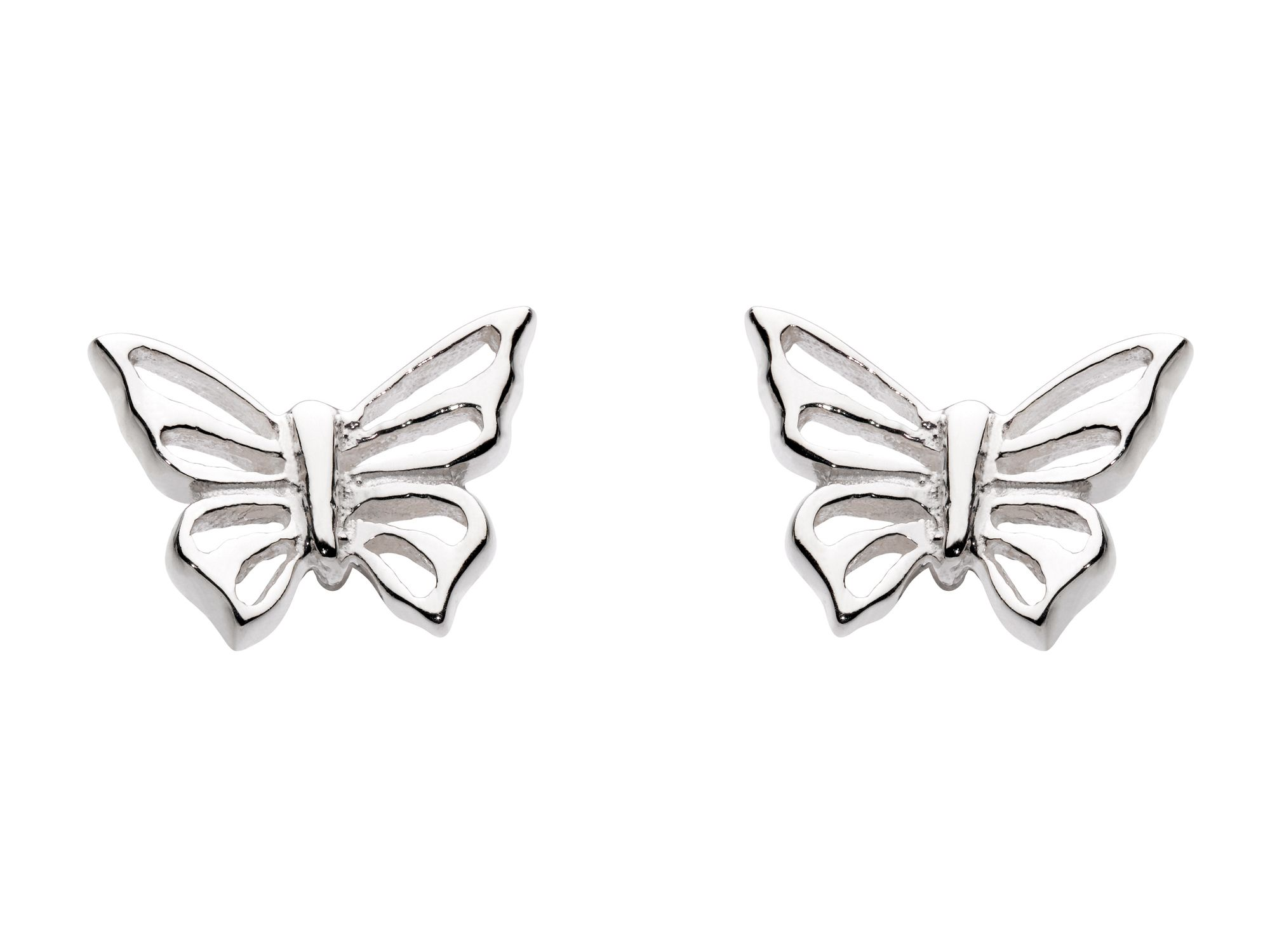 Sterling Silver Womens Butterfly Stud Earrings