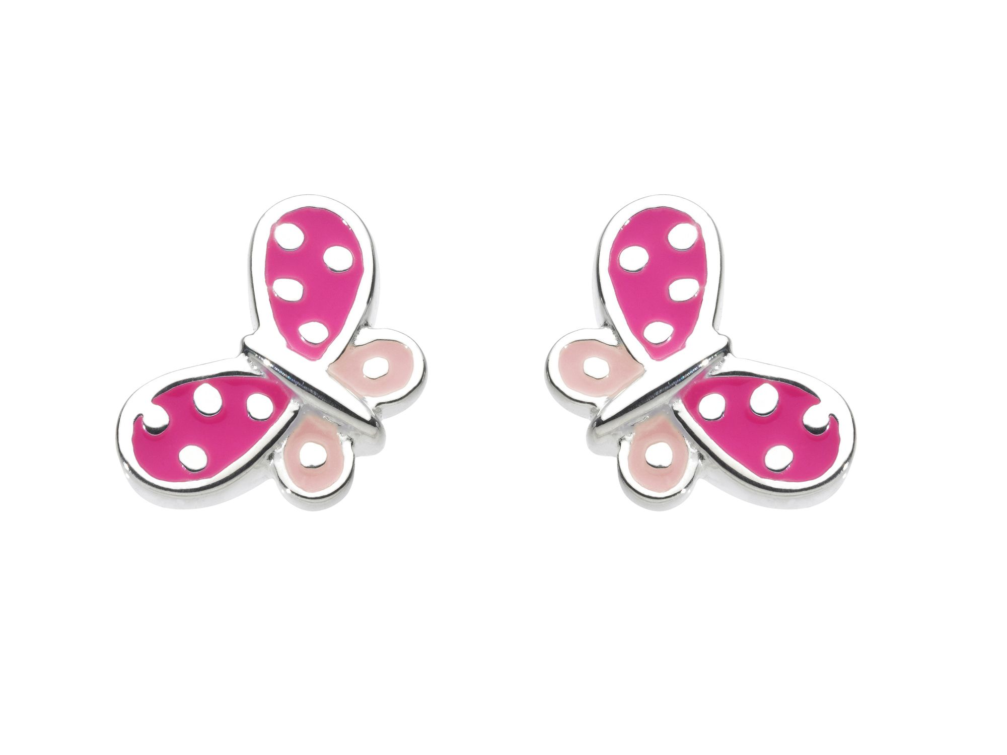 Beautiful Pink Butterfly Stud Earrings