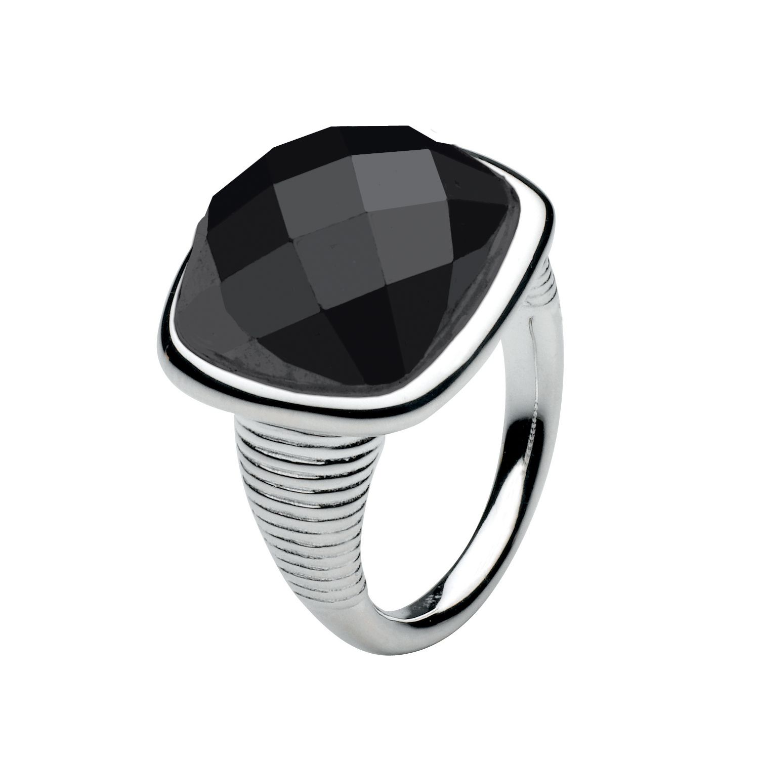 Kit Heath Sterling Silver Faceted Black Agate Ring, Black