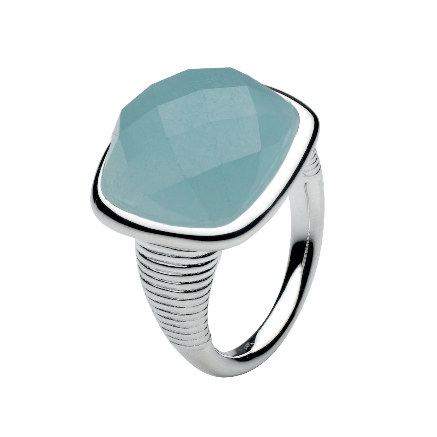 Kit Heath Sterling Silver Faceted Black Agate Ring, Blue