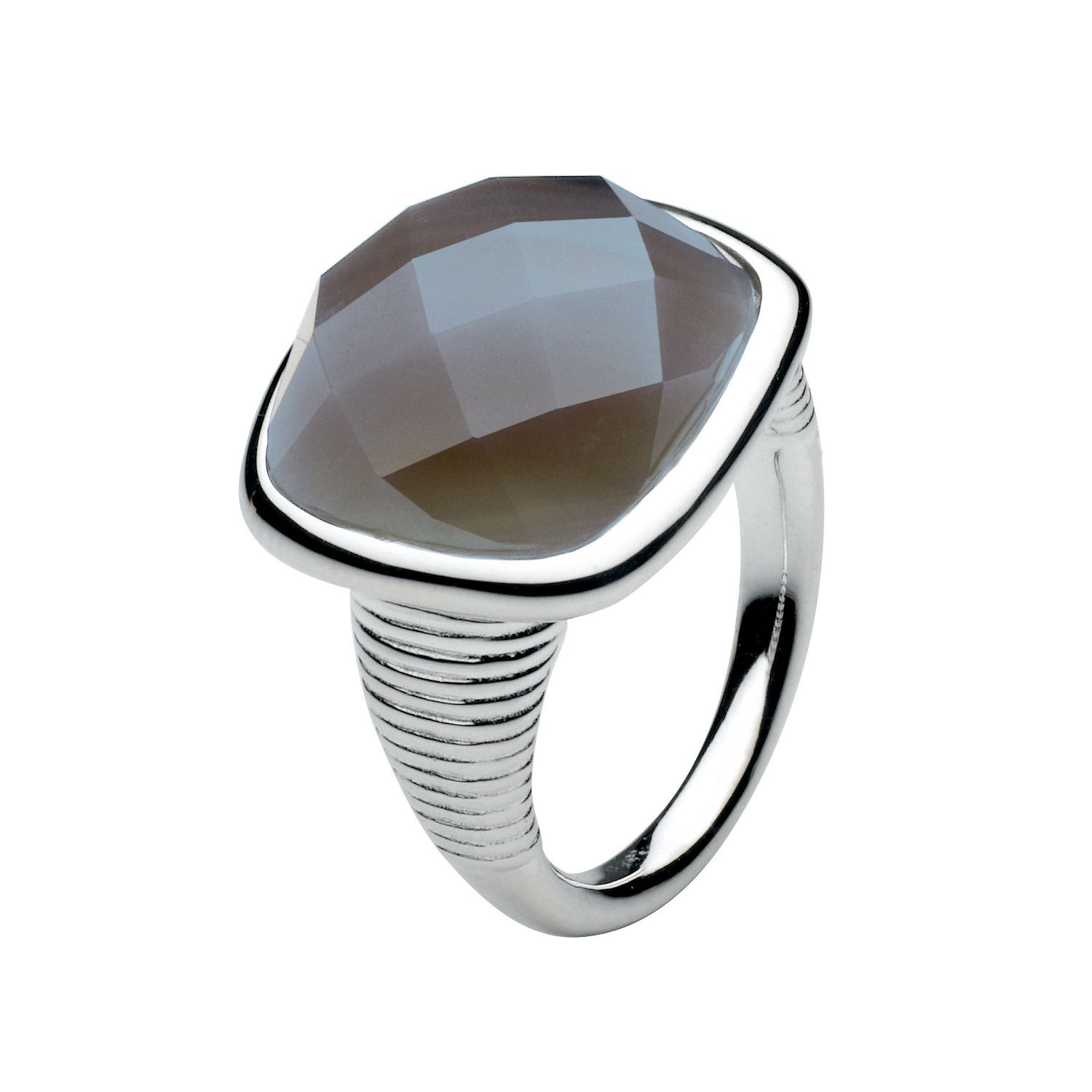 Sterling Silver Faceted Black Agate Ring - Grey
