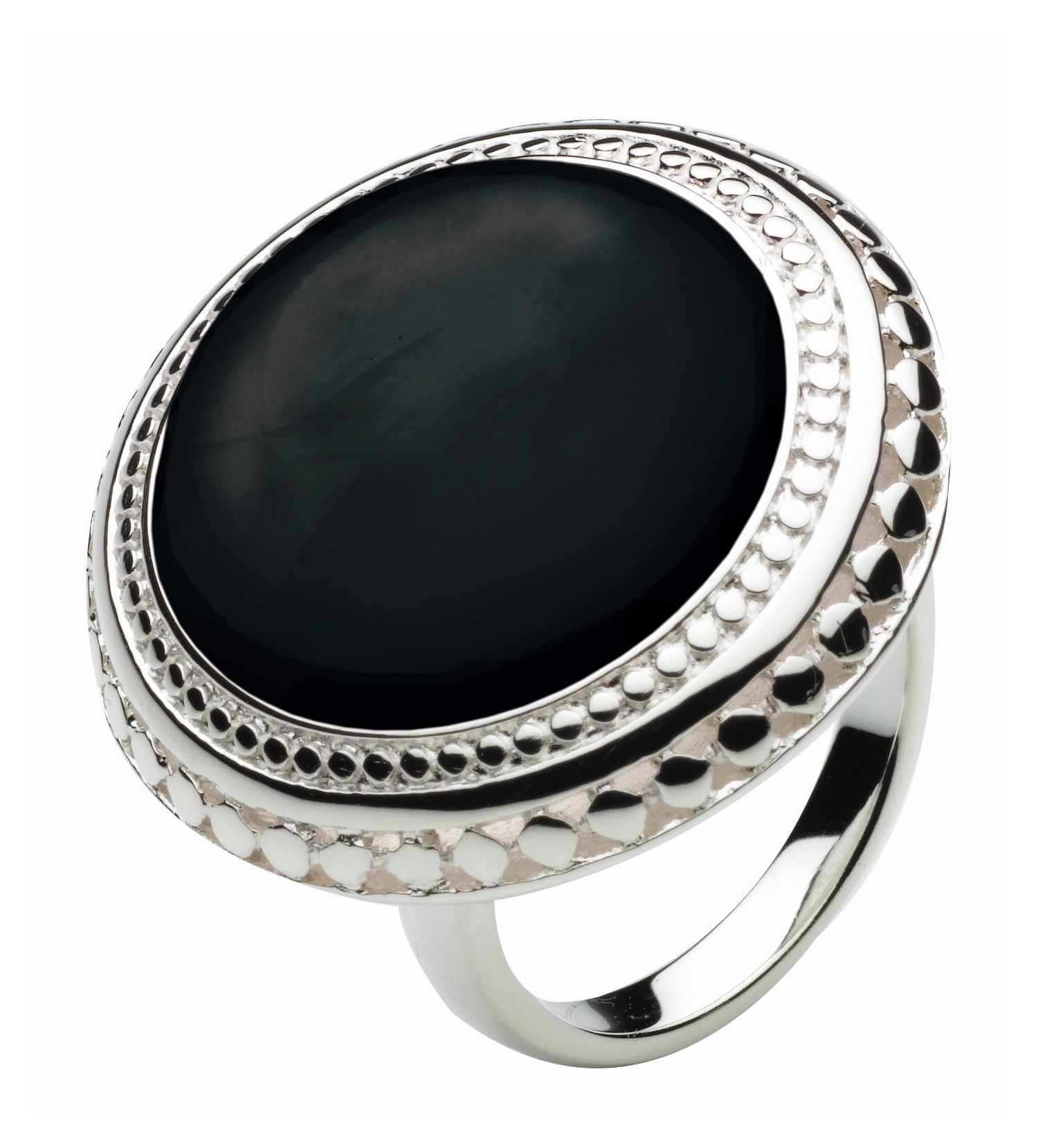 Kit Heath Sterling Silver and Black Agate Grecian Ring, Black