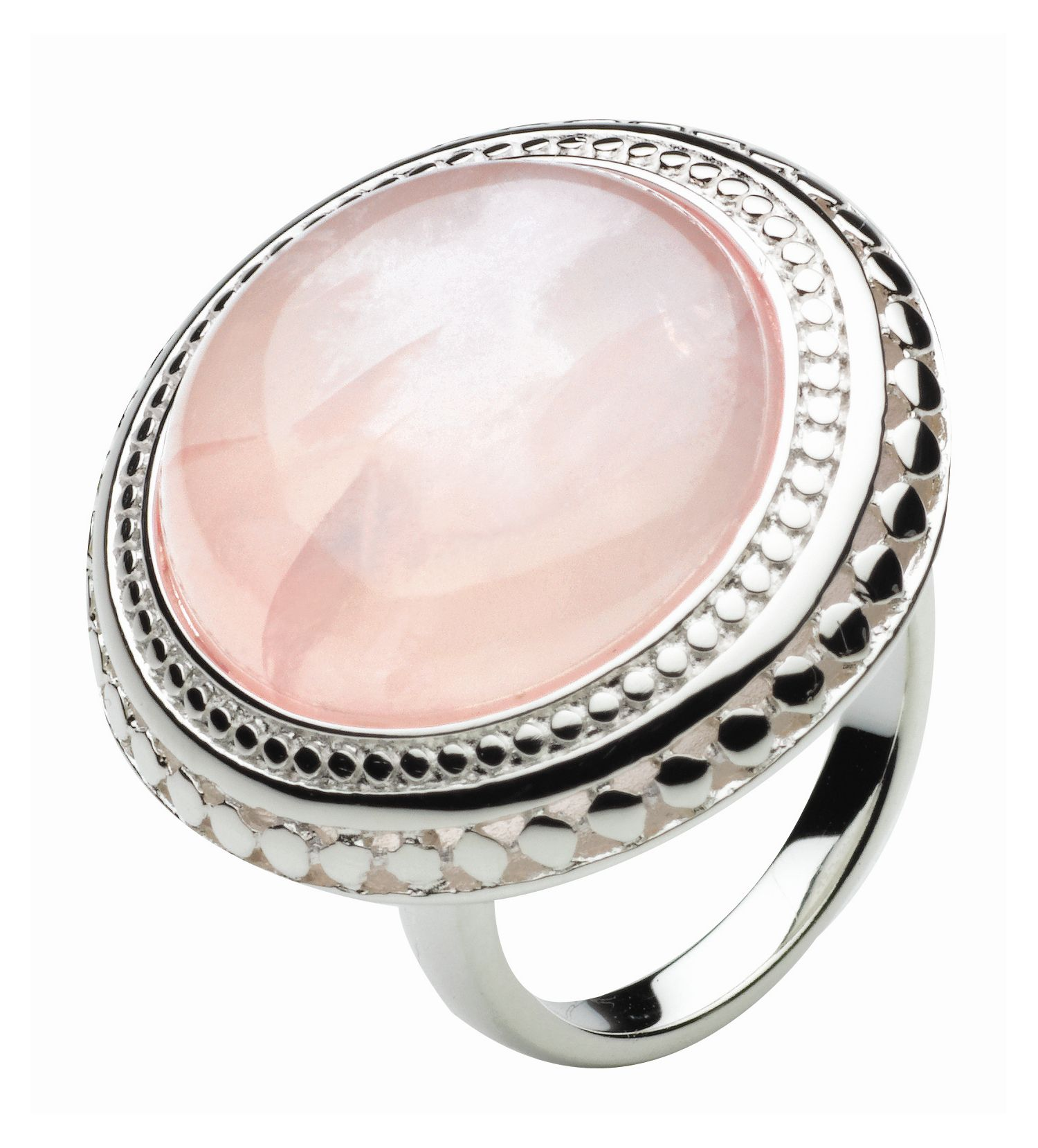 Sterling Silver and Black Agate Grecian Ring - Pink