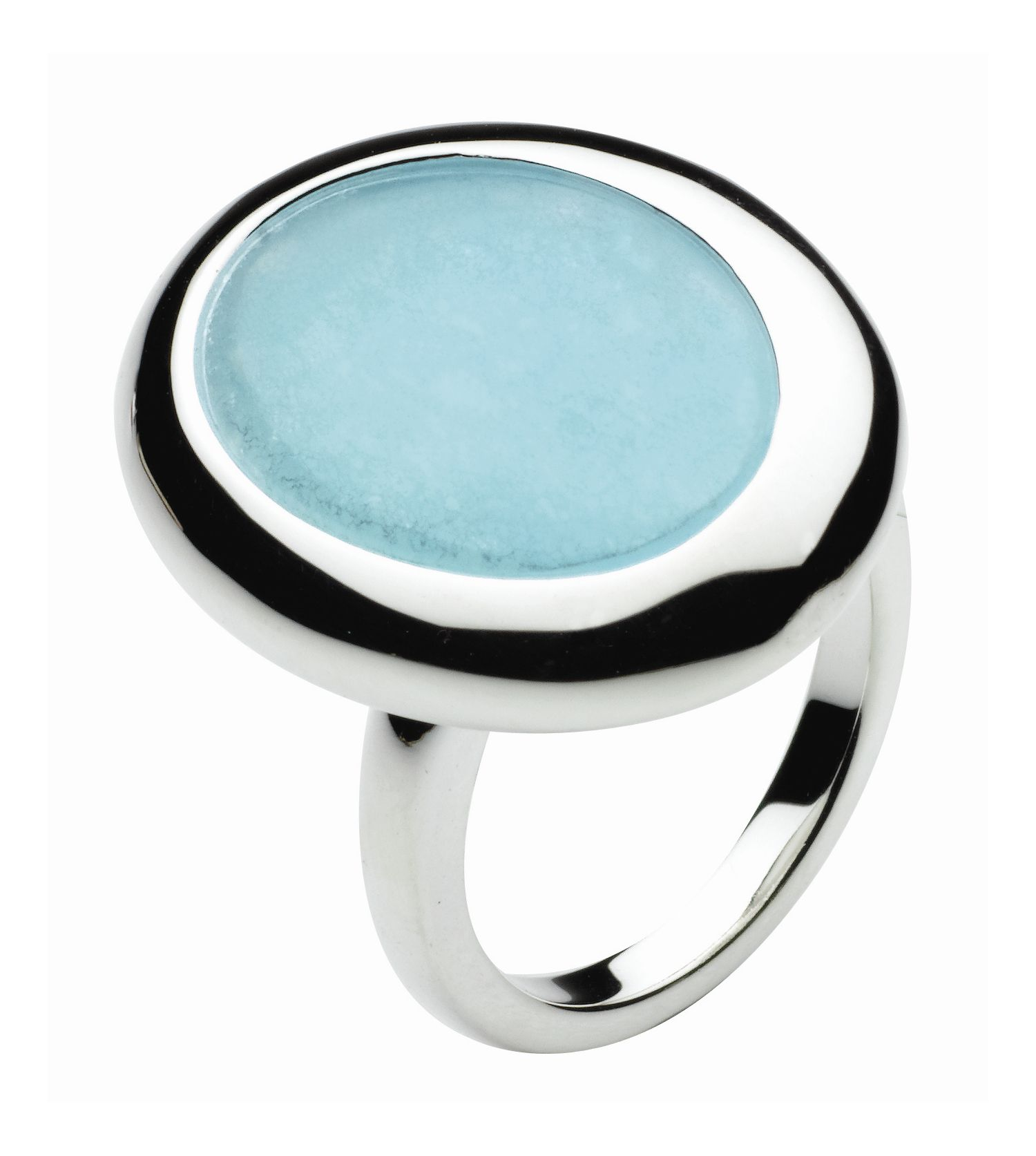 Sterling Silver Oasis Large Pebble Stone Ring - Blue