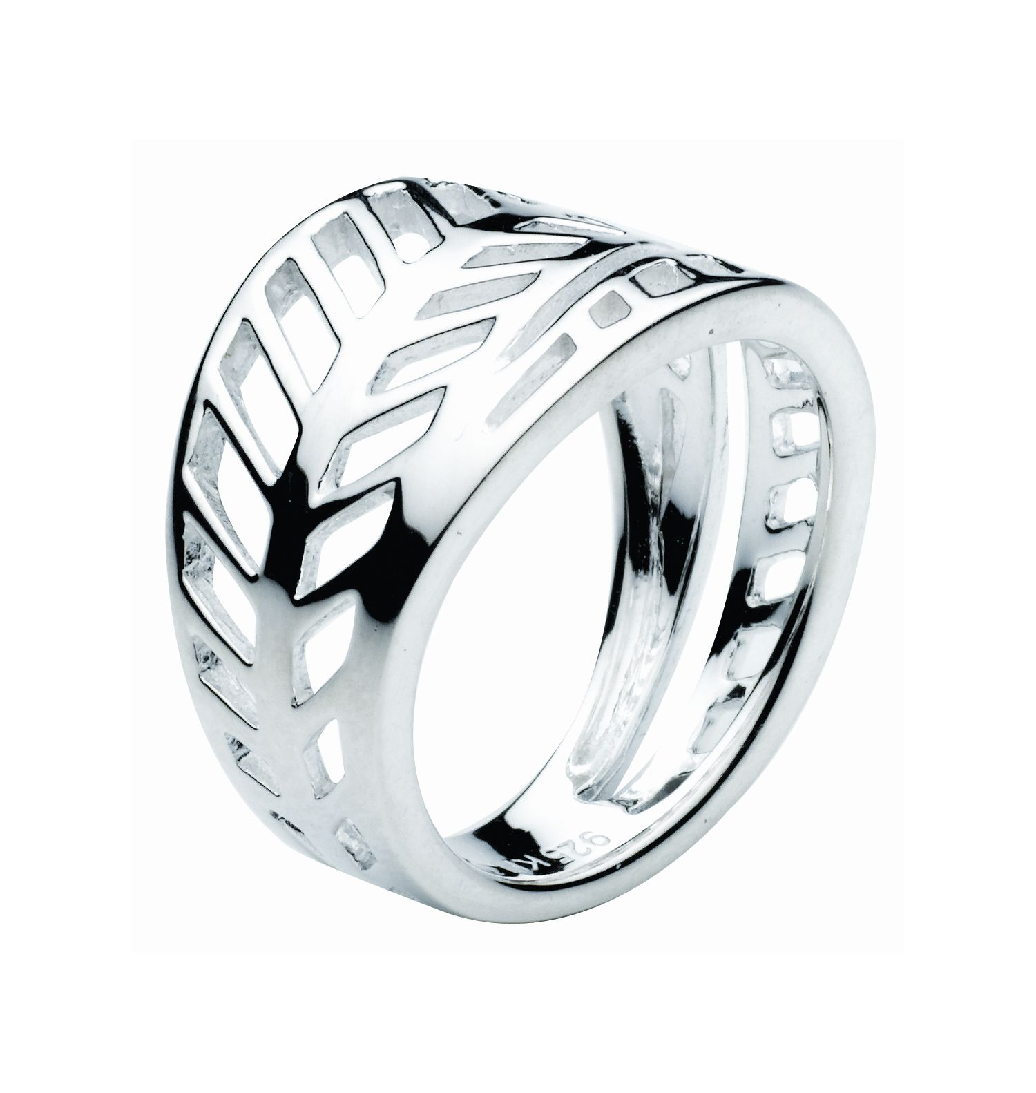 Sterling Silver Applique Leaf Ring - Silver