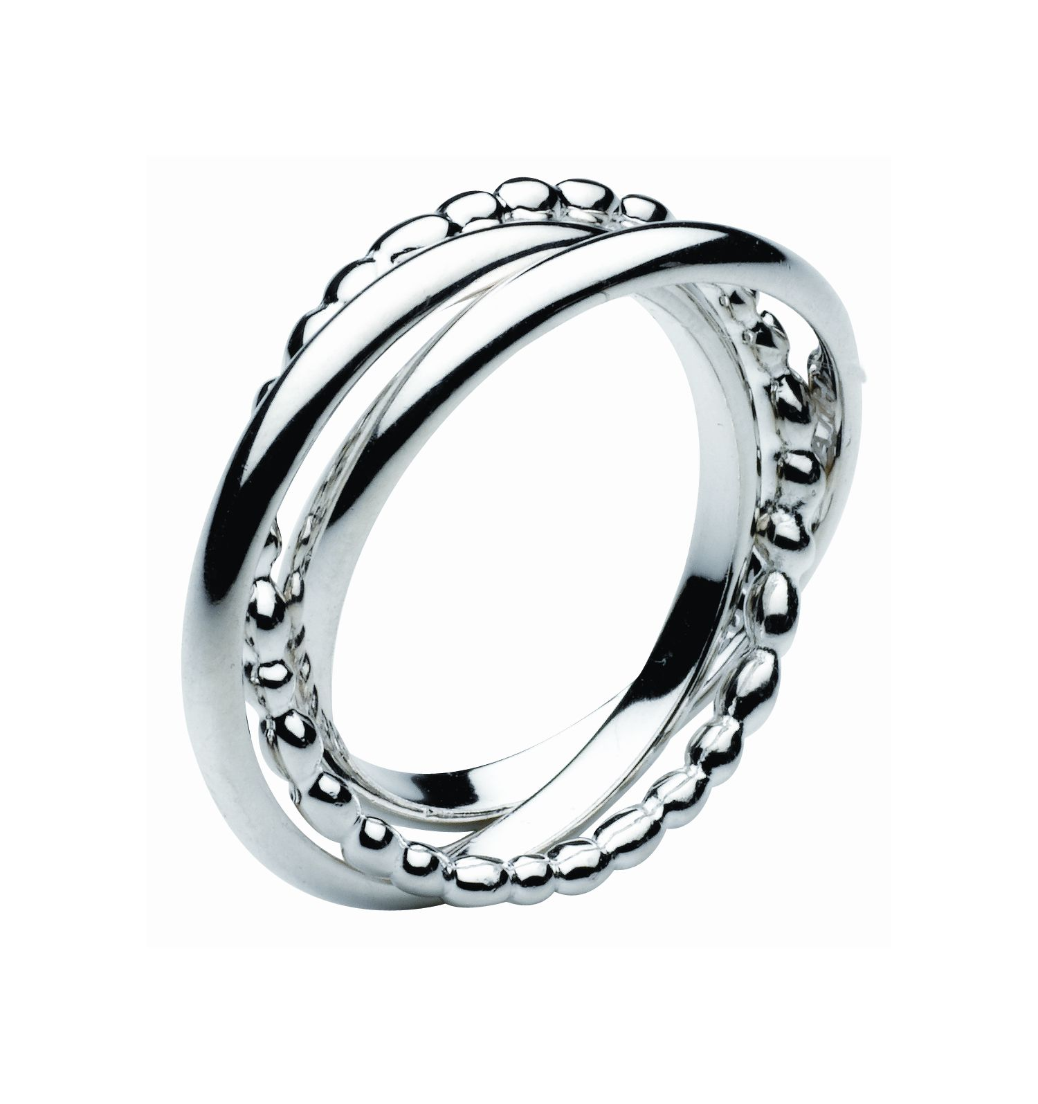 Kit Heath Sterling Silver Pebble Trickle Trio Ring, Silver