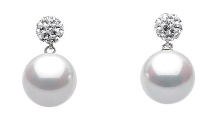 Dew Shell Pearl and Crystal Studs