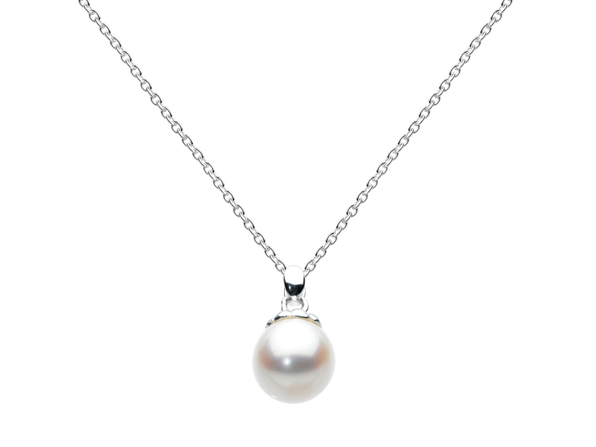 Sterling silver white freshwater pearl necklace