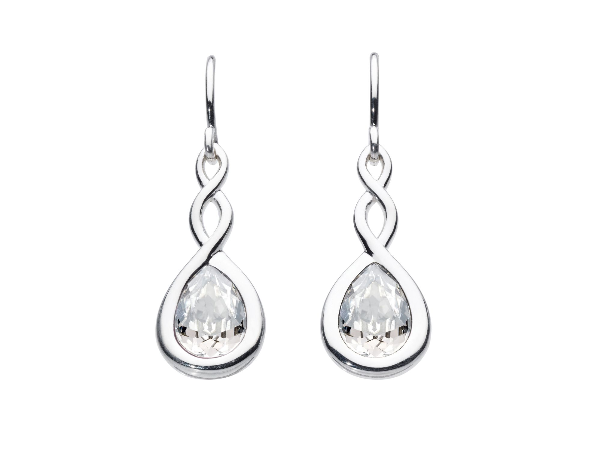 Crystal pear twist drops earrings