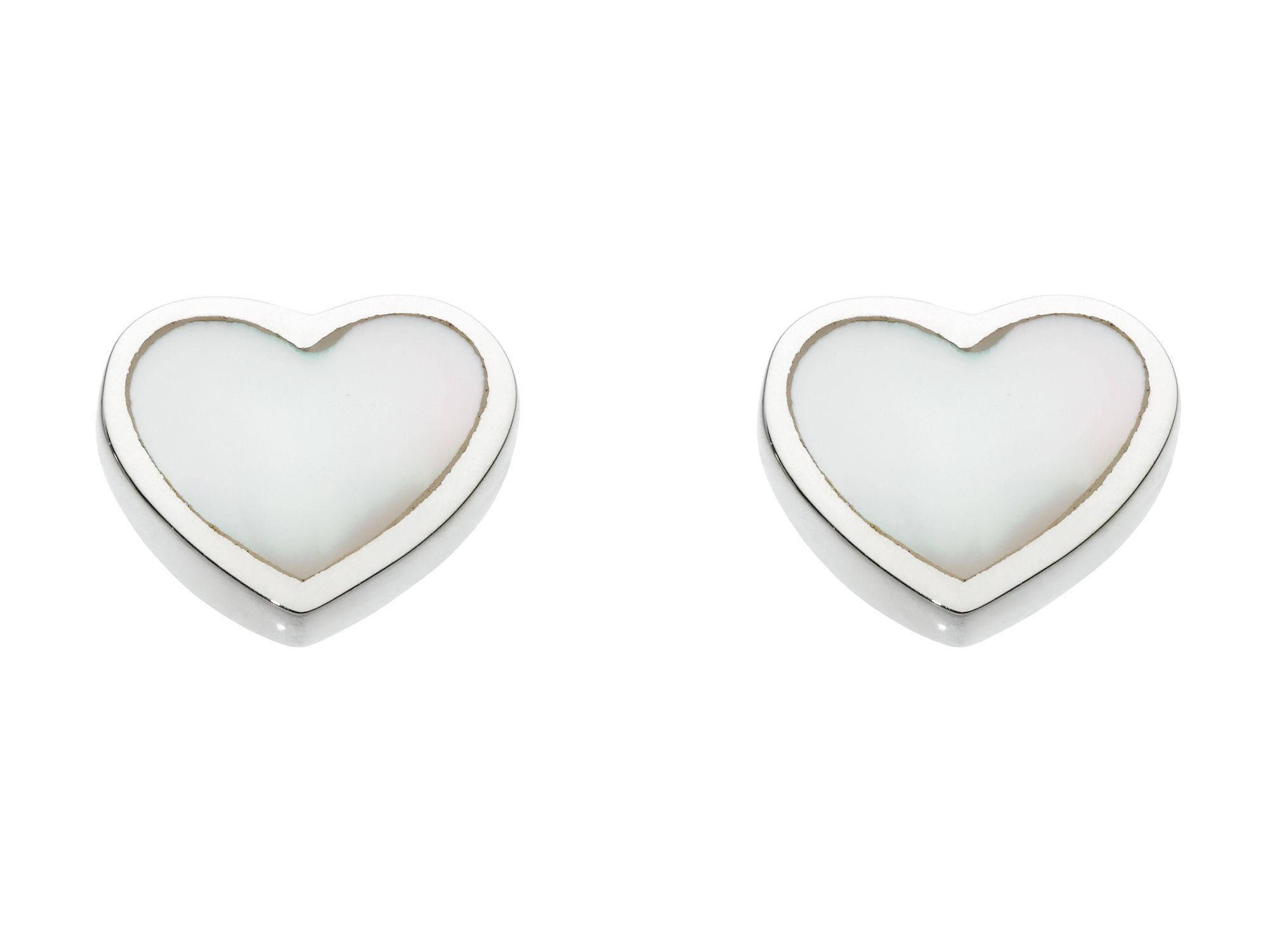 Sterling silver heart mother of pearl small earri