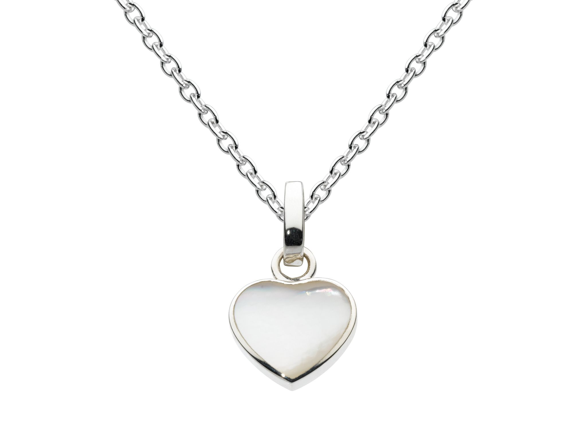 Sterling silver mother of pear lheart pendant