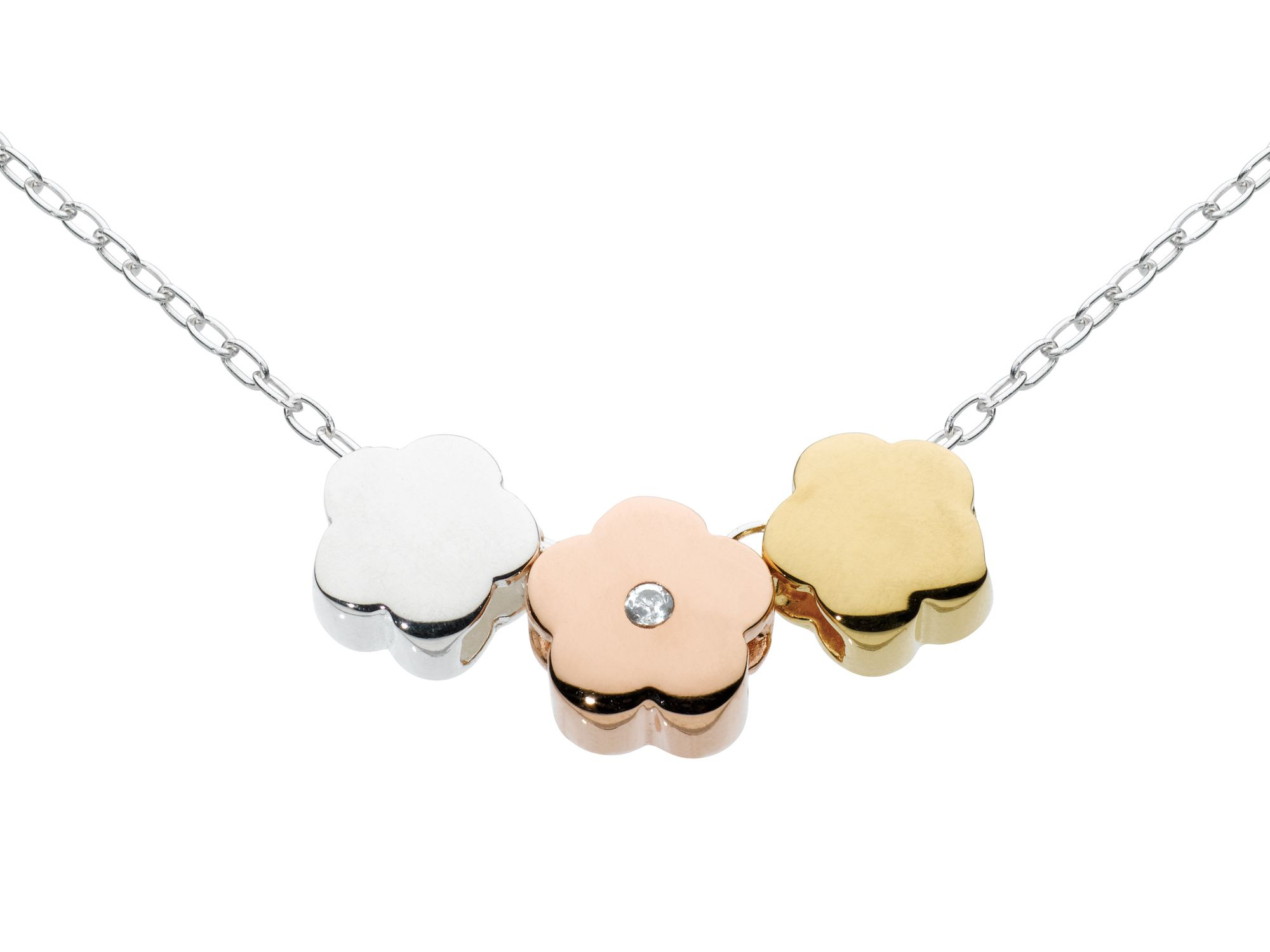 Sterling silver mini flowers mixed colour necklac