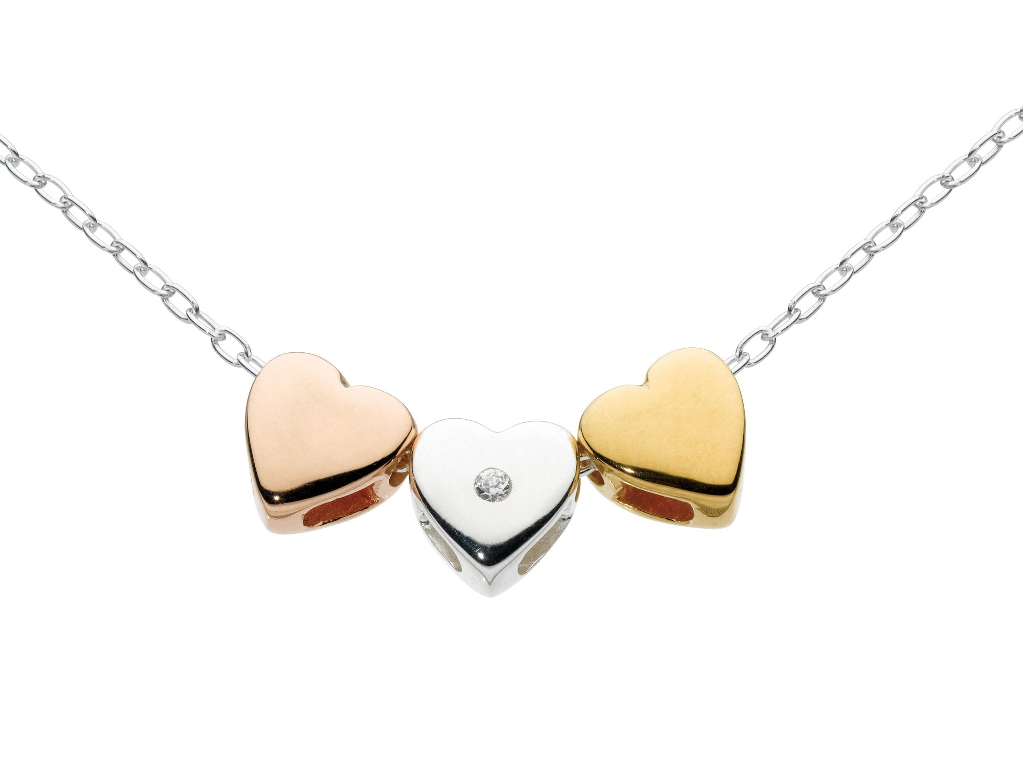 Sterling silver mini hearts mixed colour necklace