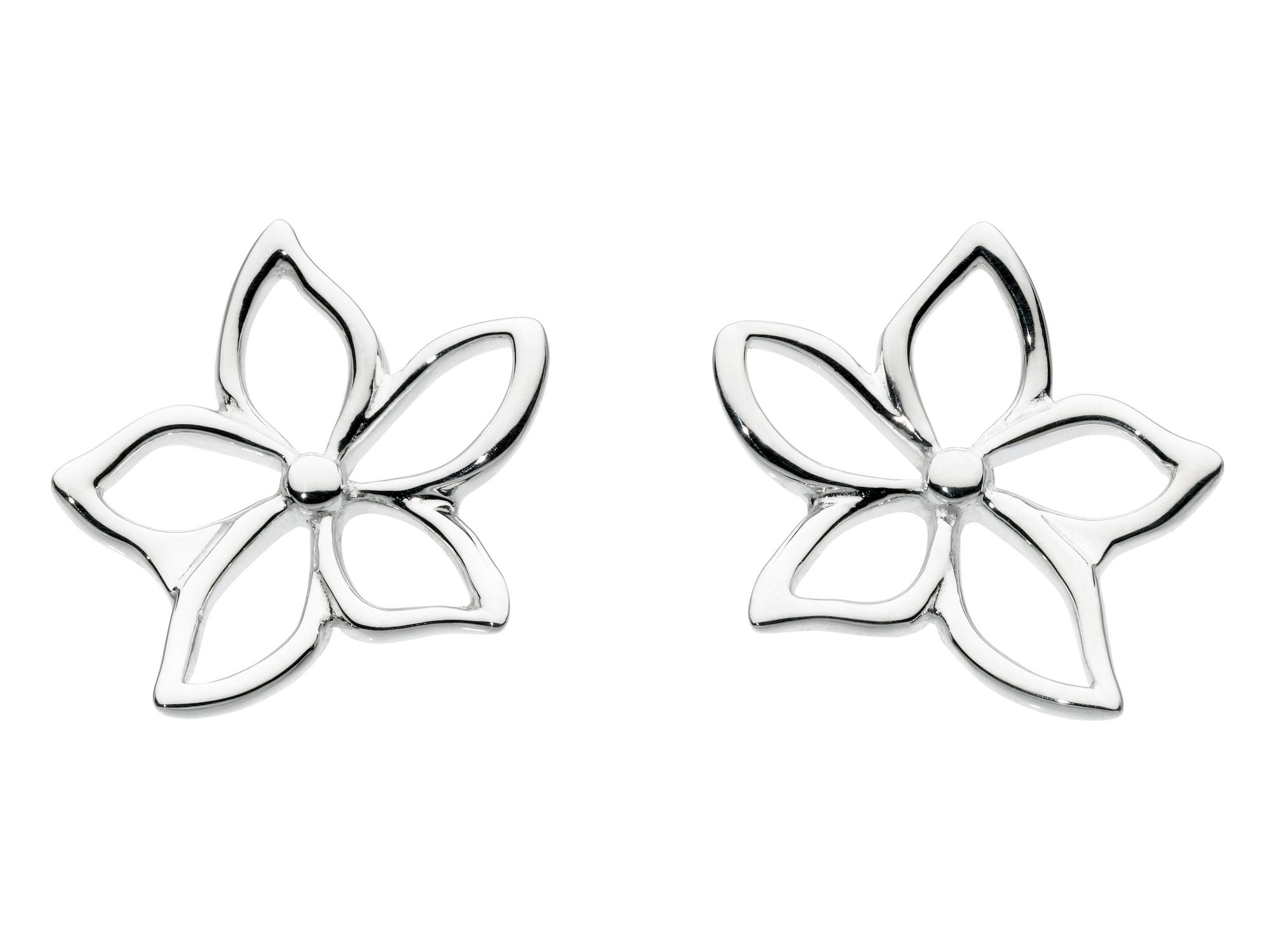 Sterling silver five petal flower earrings