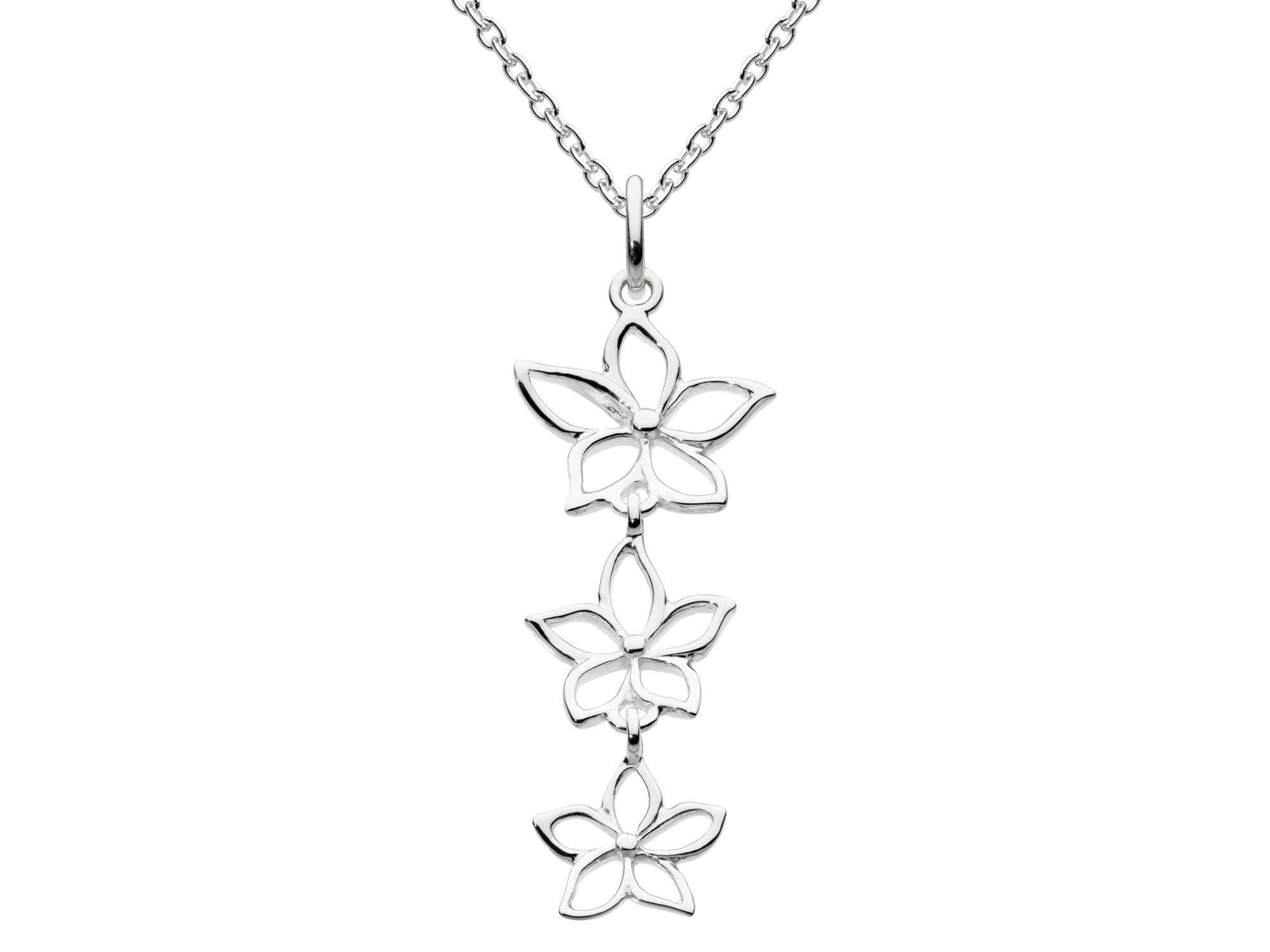 Sterling silver triple five petal flower pendant