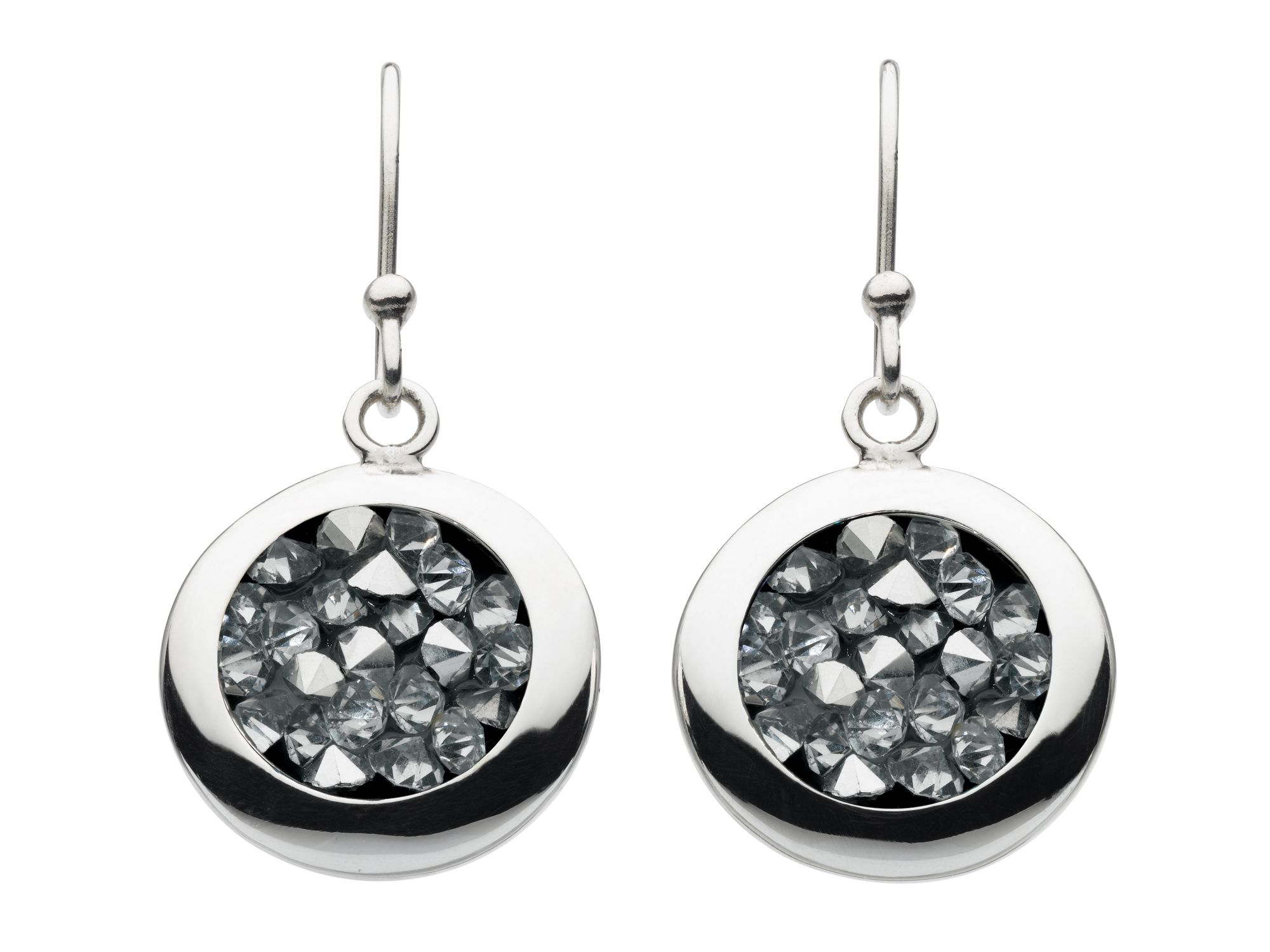 Sterling silver crystal rock round earrings