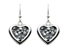 Sterling silver crystal rock heart earrings