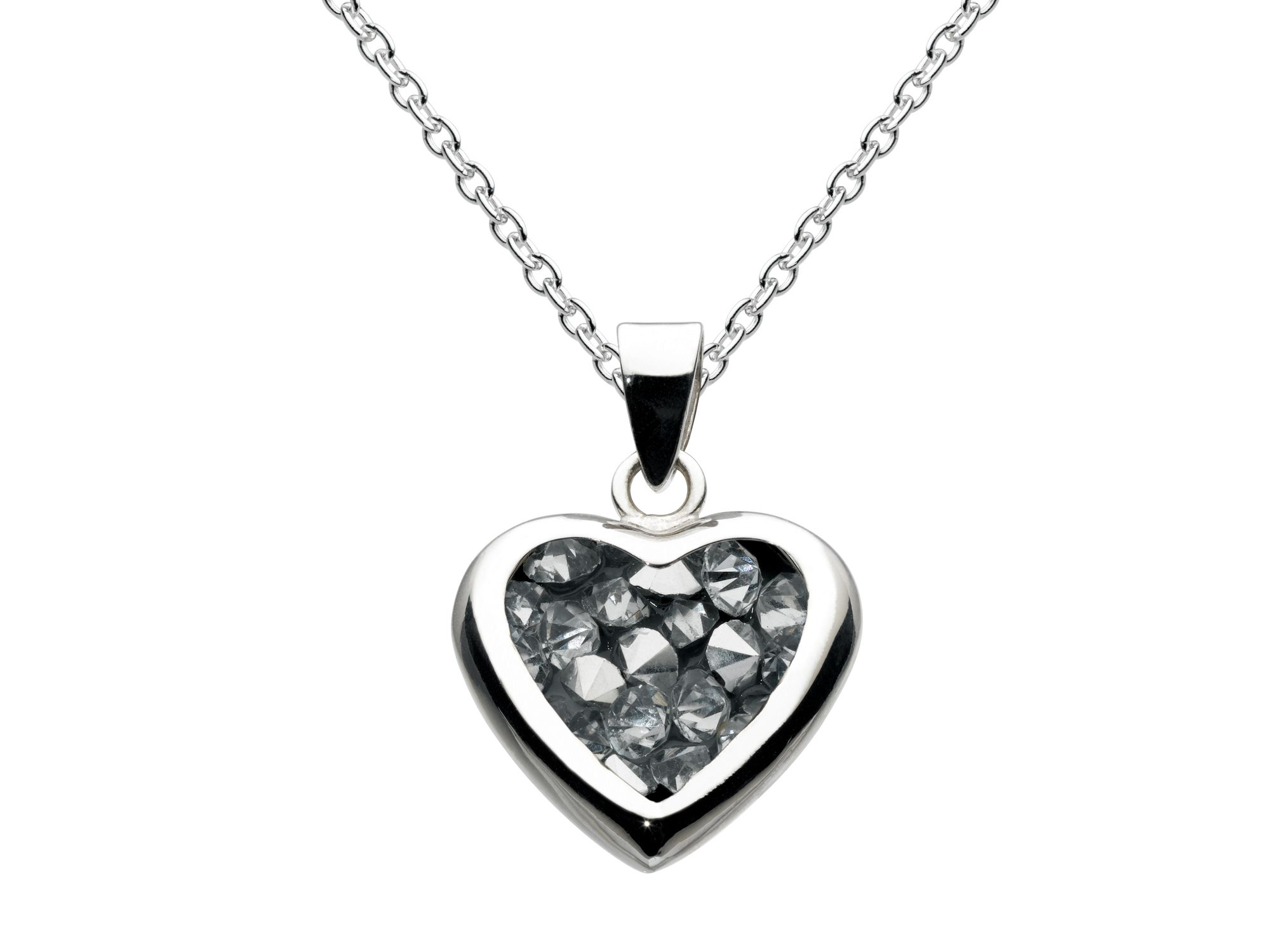 Sterling silver crystal rock heart pendant