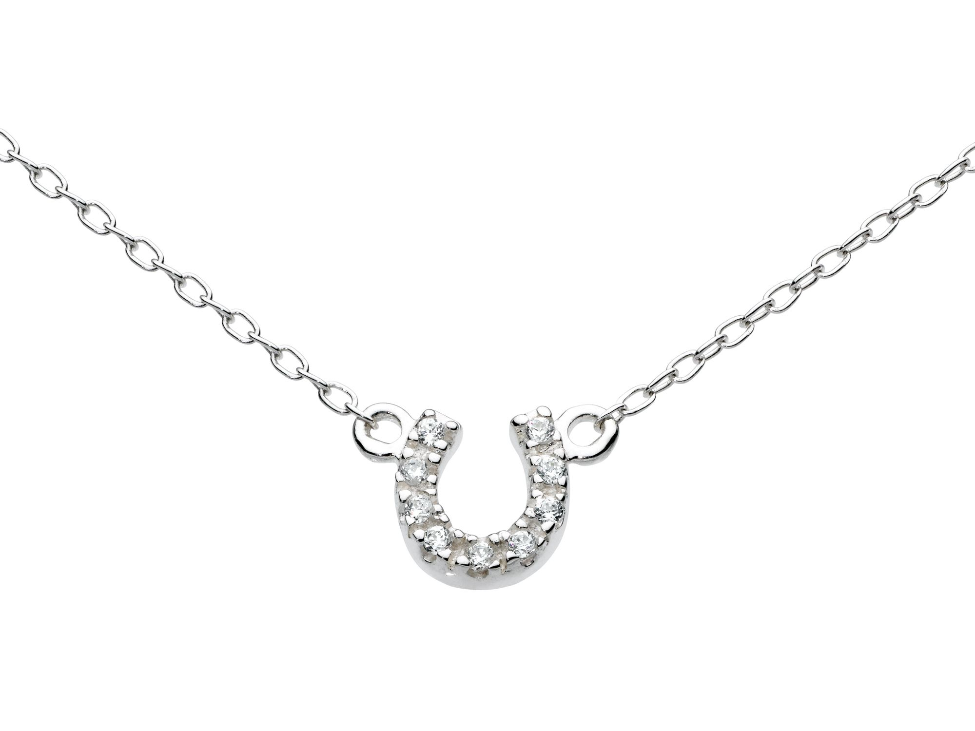 Sterling silver mini pave horseshoe necklace