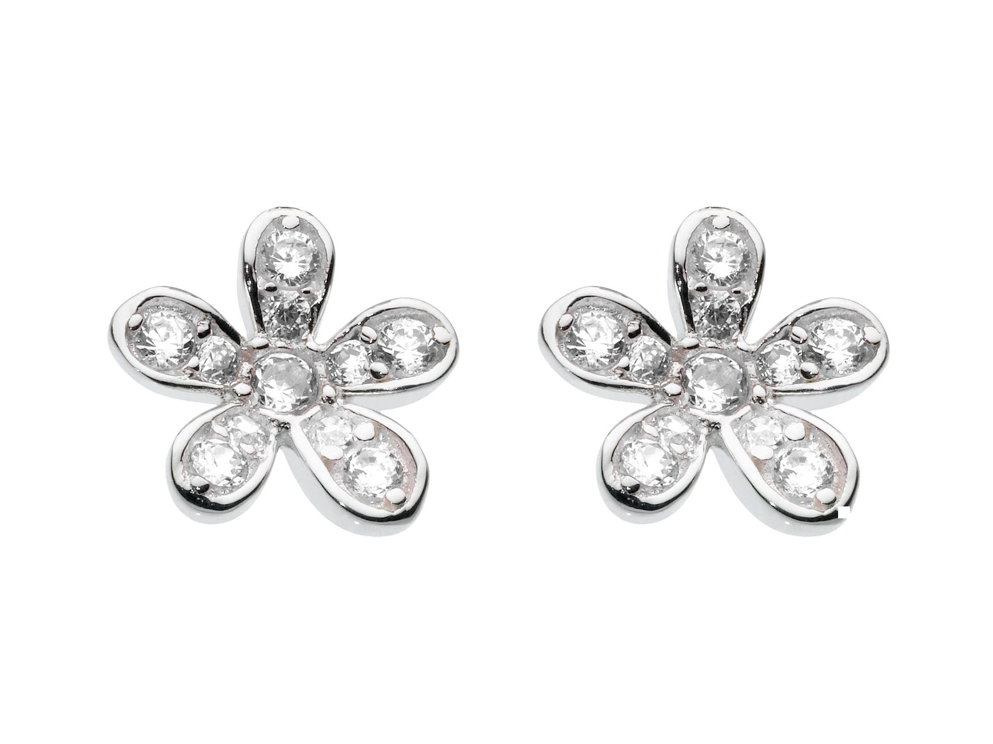 Sterling silver petal earrings with cubic zirconi